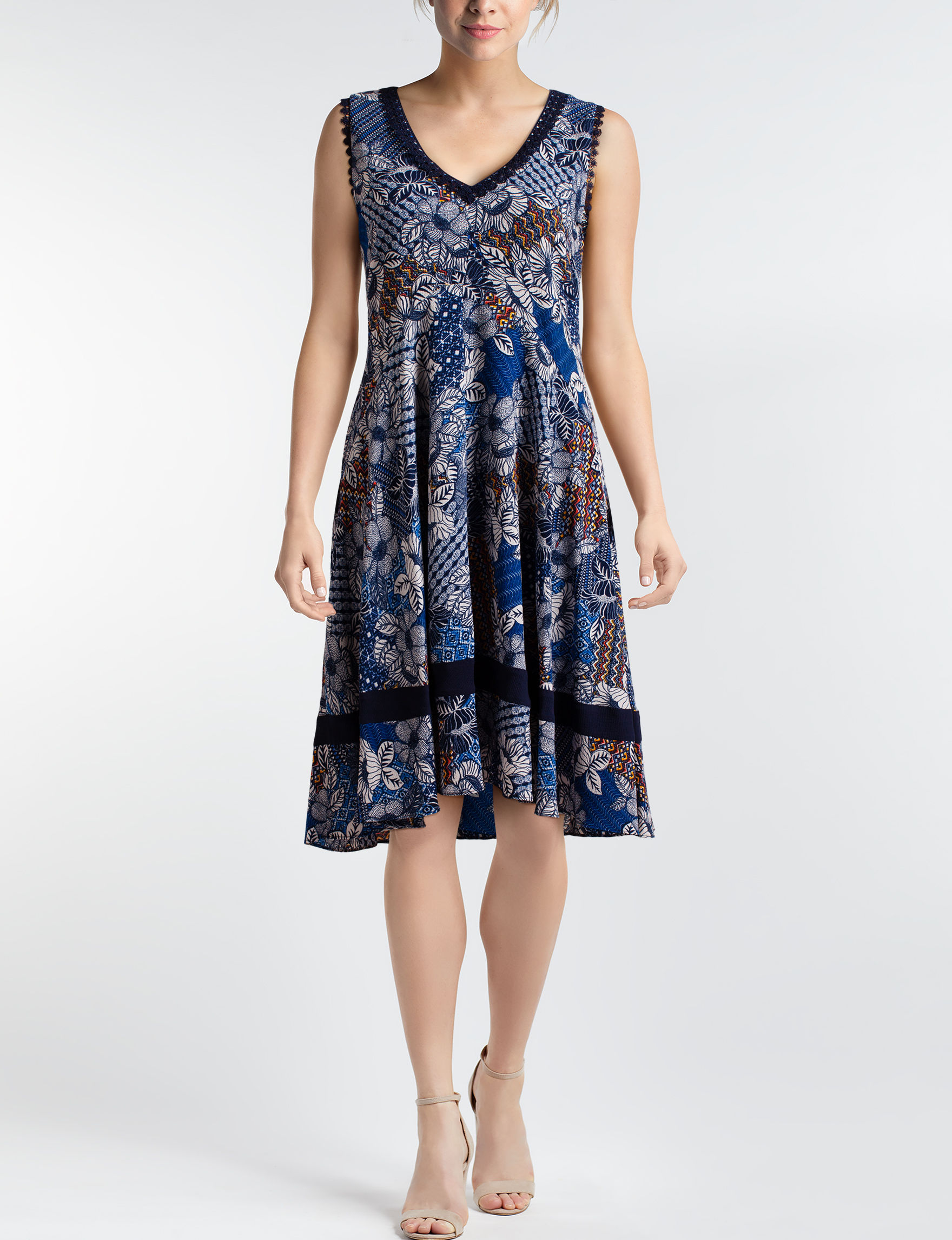 Robbie Bee Navy / Multi Everyday & Casual Fit & Flare Dresses