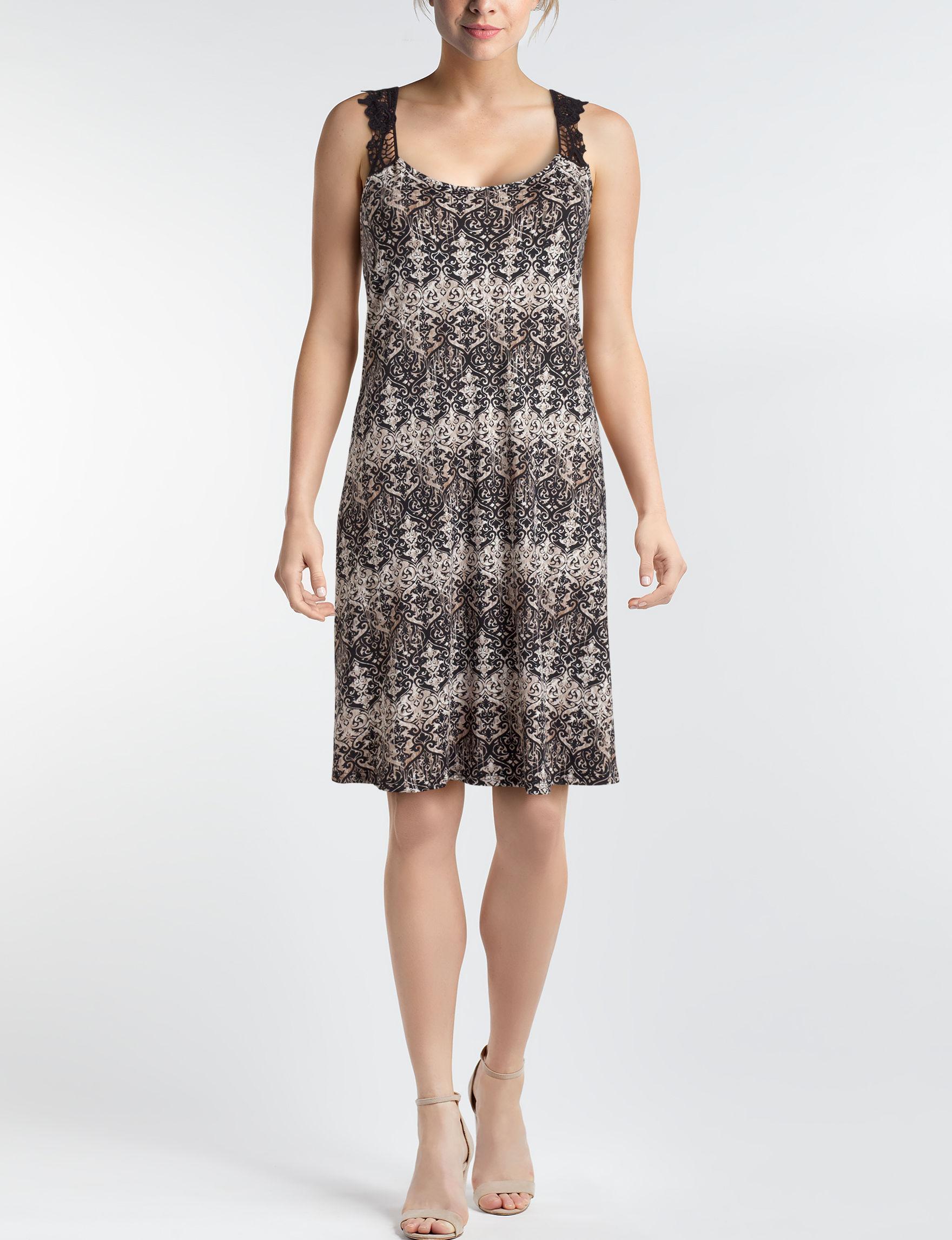 Nina Leonard Black White Everyday & Casual Fit & Flare Dresses Sundresses