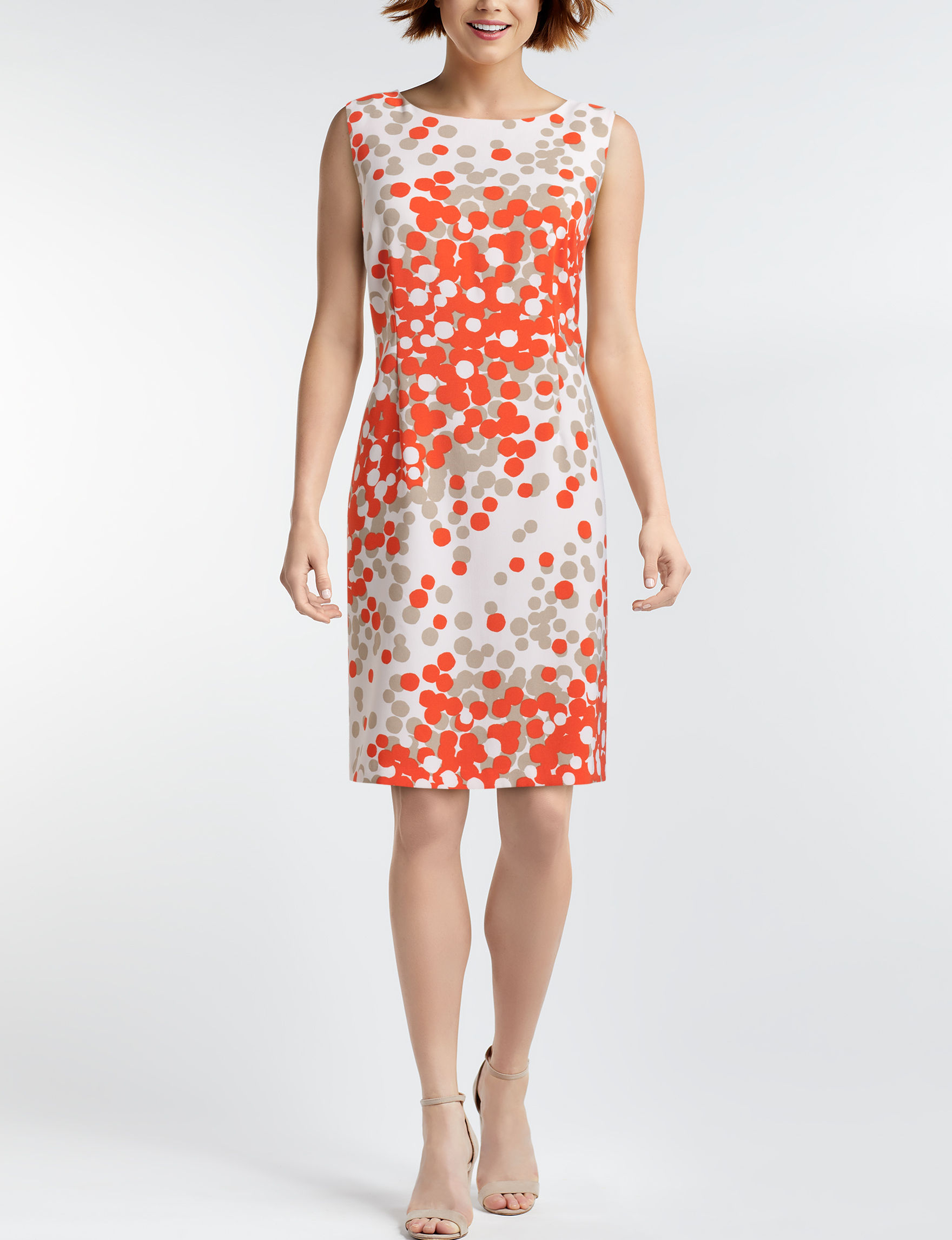 Ronni Nicole White / Orange Everyday & Casual Sheath Dresses