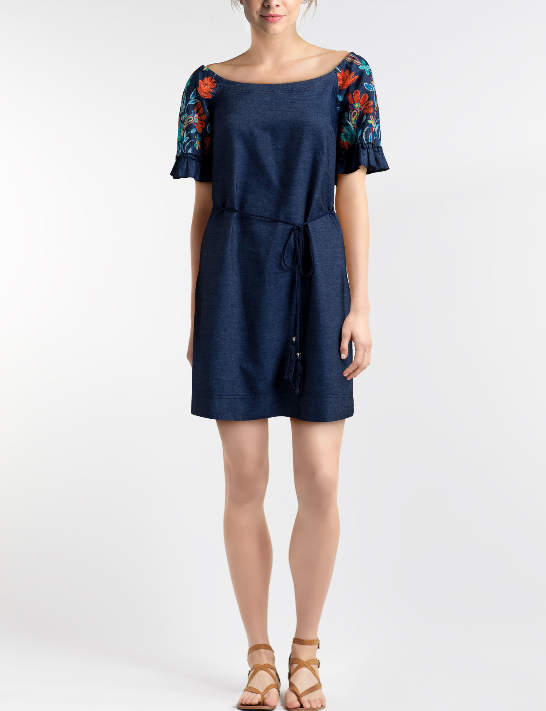 Robbie Bee Blue Everyday & Casual A-line Dresses Fit & Flare Dresses Sundresses
