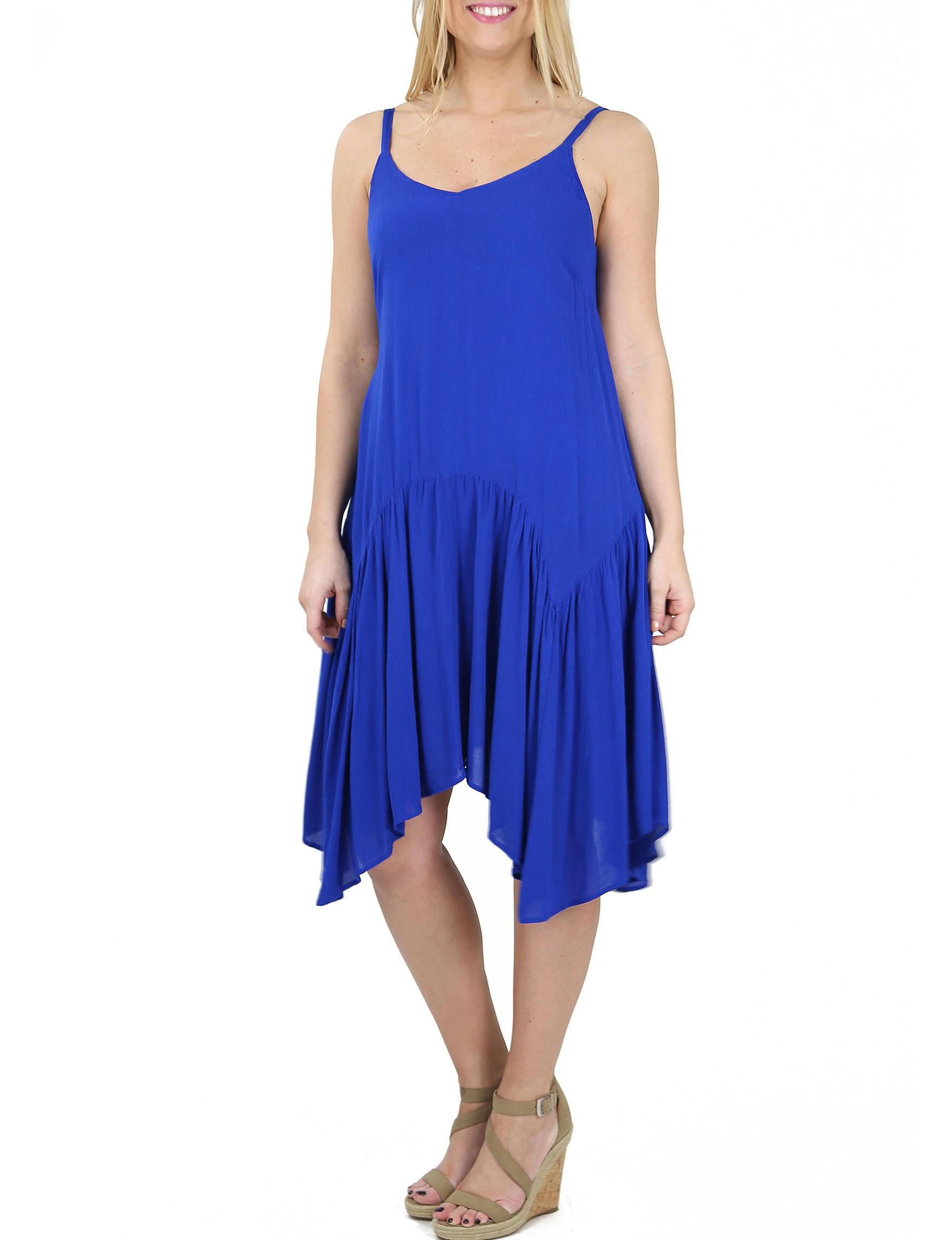 Nina Leonard Blue Everyday & Casual A-line Dresses Fit & Flare Dresses