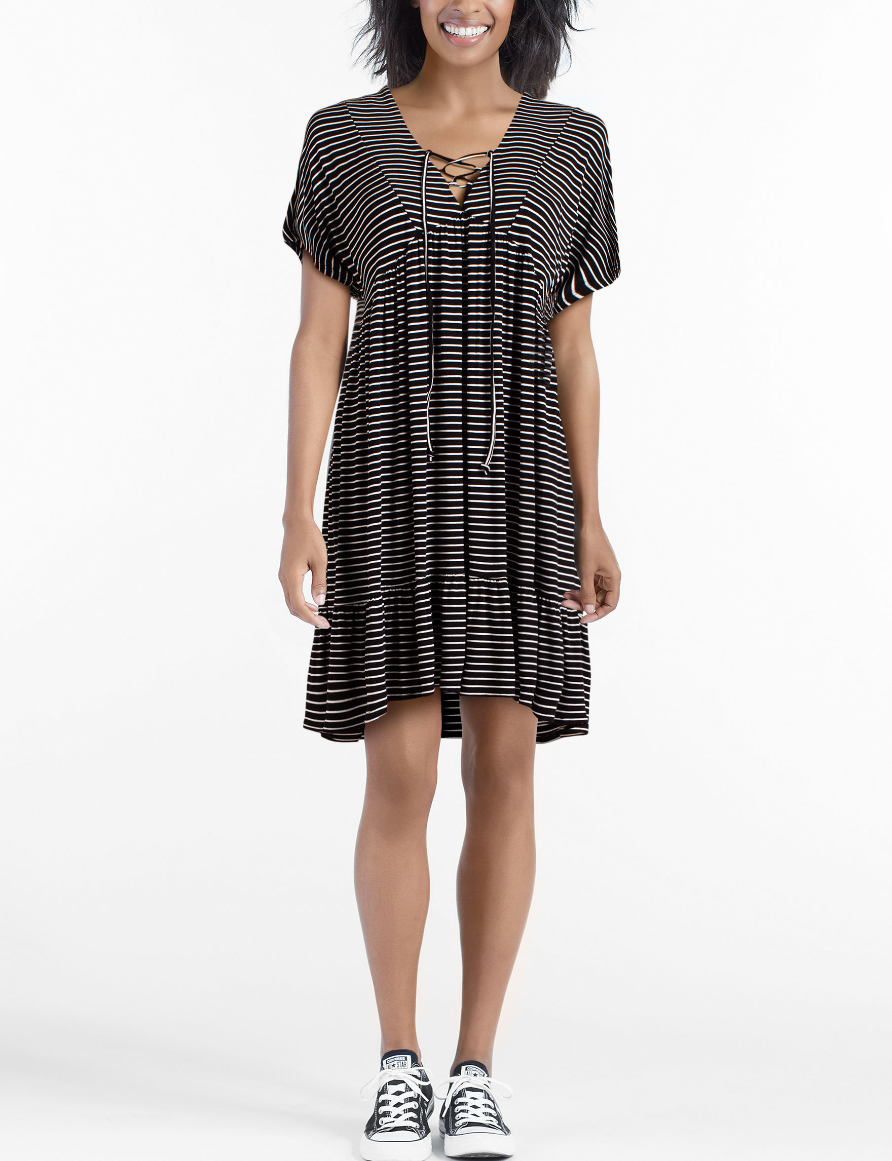 Heart Soul Black White Everyday & Casual Shift Dresses