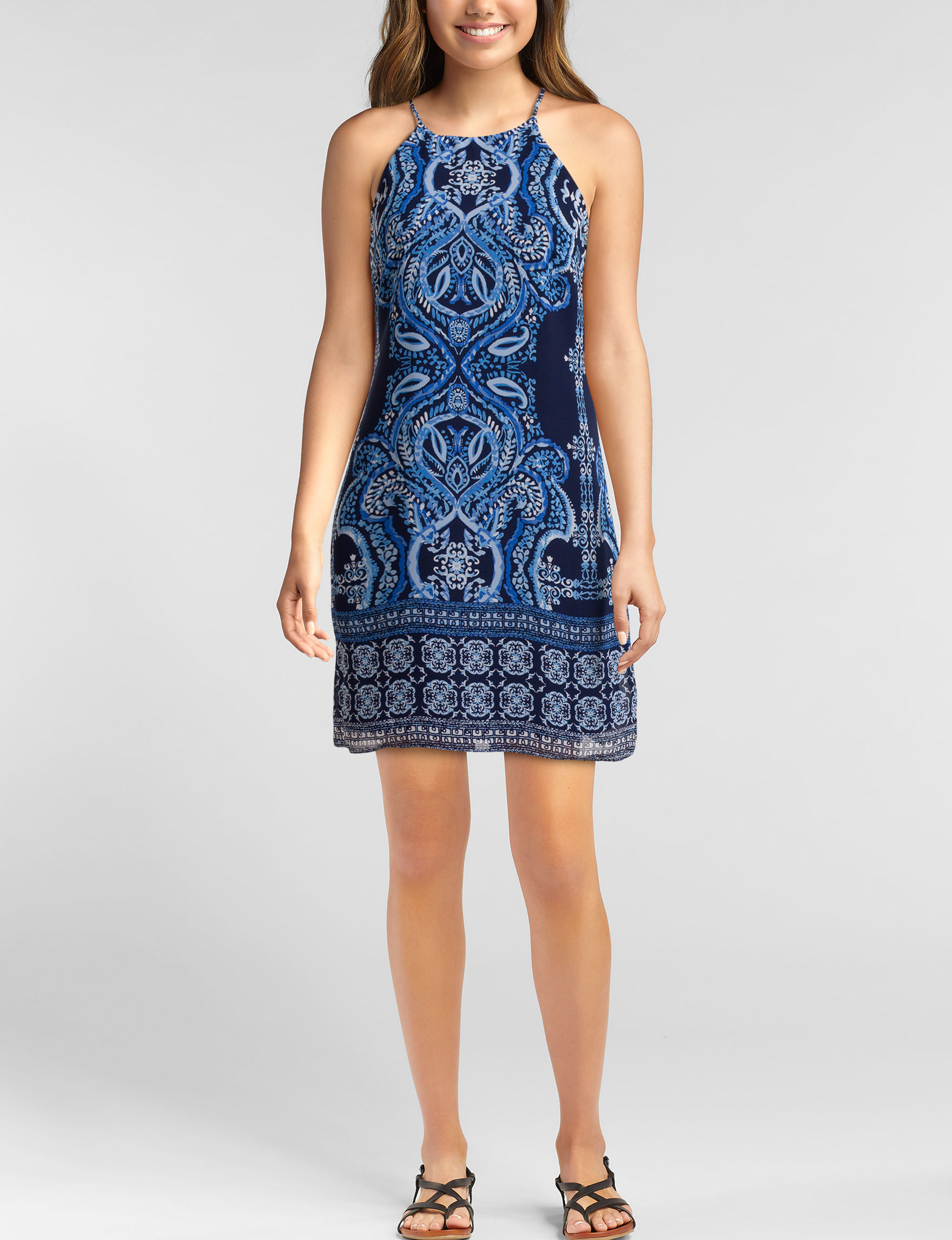 A. Byer Blue Shift Dresses