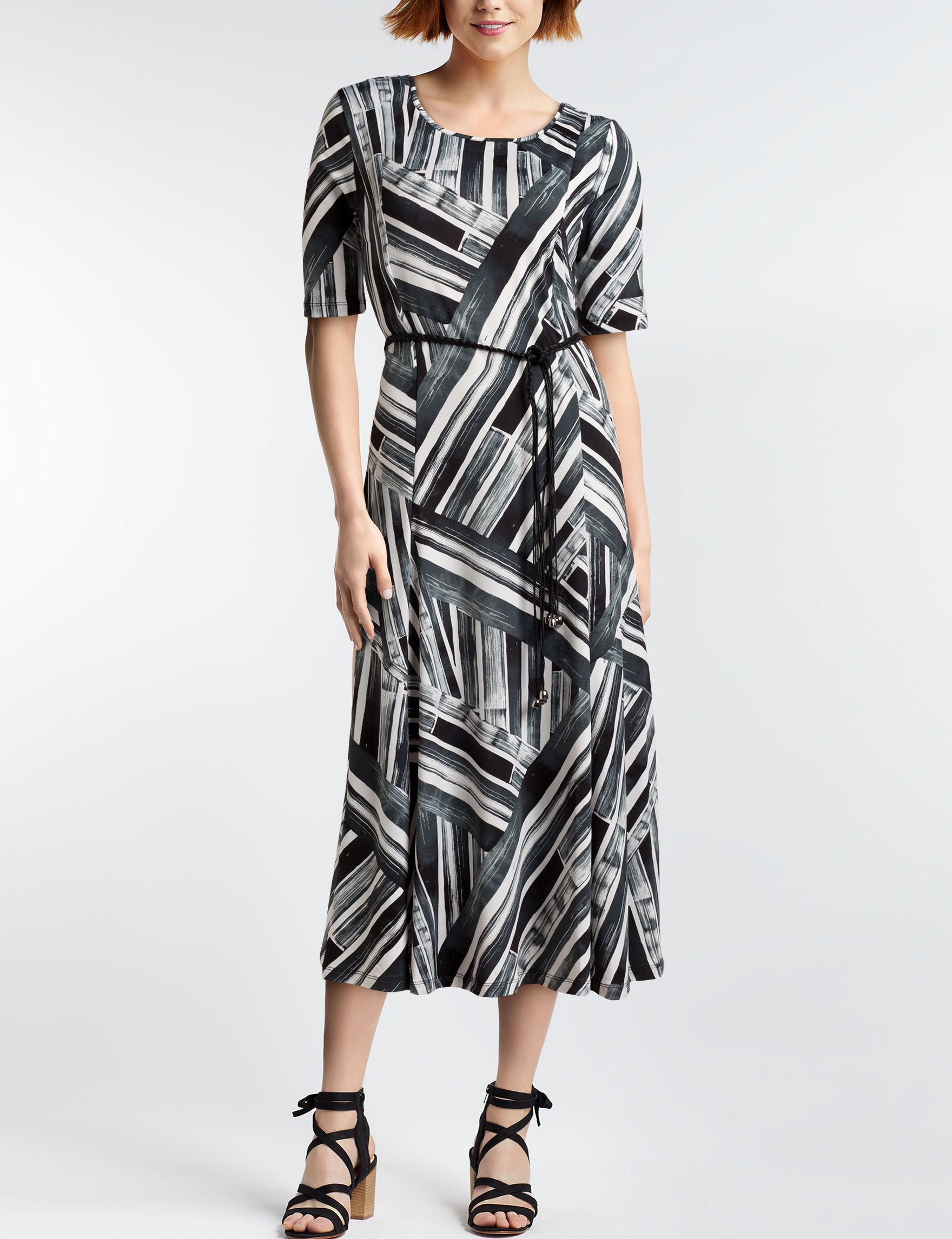 Nina Leonard Black / Ivory Everyday & Casual A-line Dresses