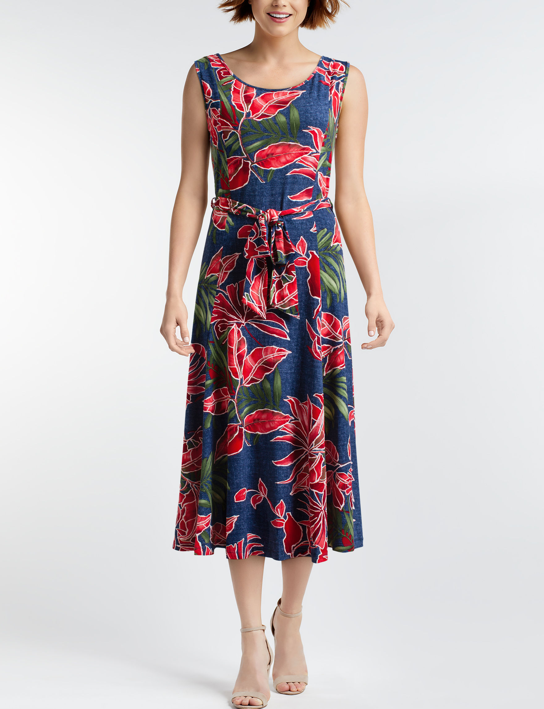 Nina Leonard Navy Everyday & Casual A-line Dresses