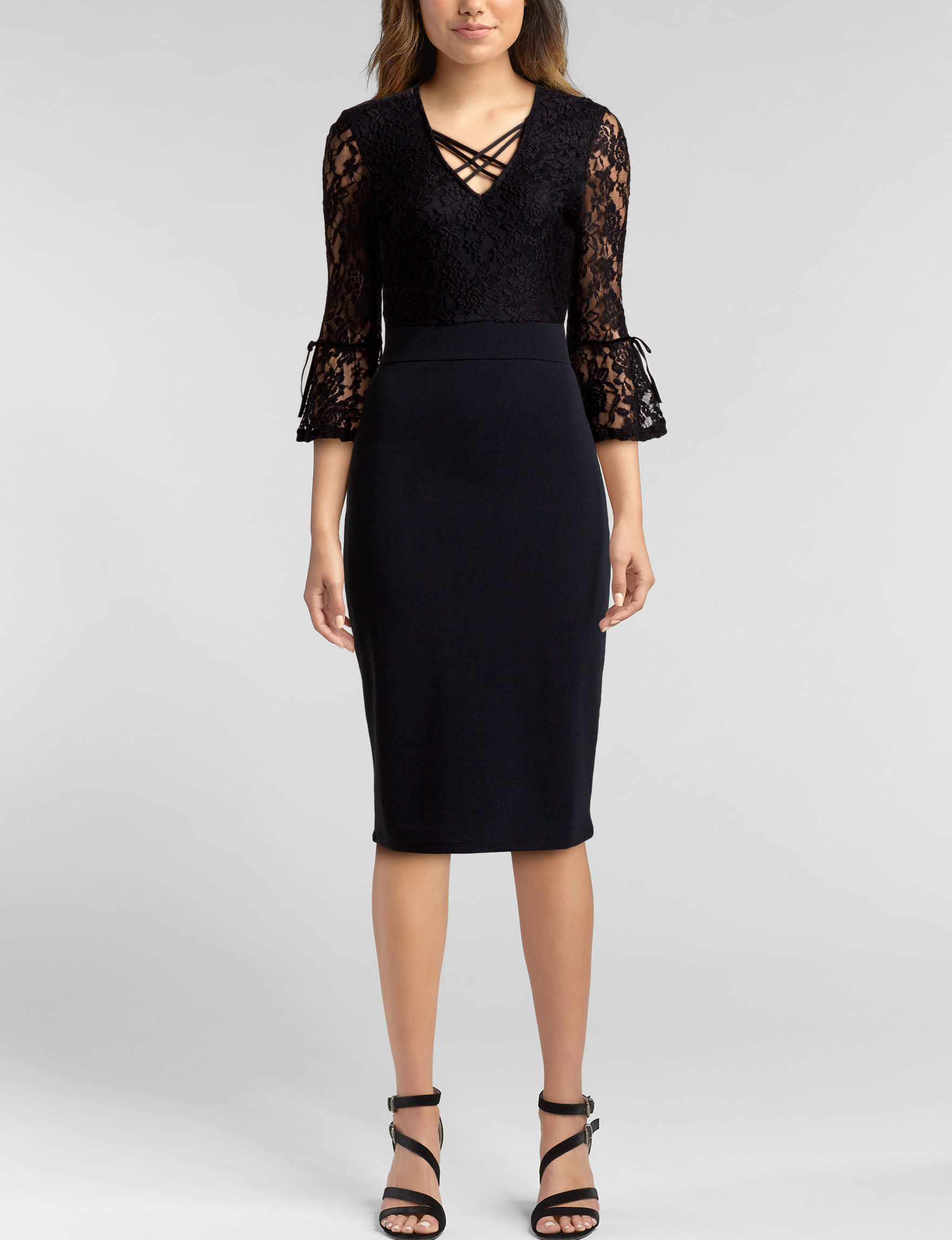 Almost Famous Black Cocktail & Party Evening & Formal Sheath Dresses
