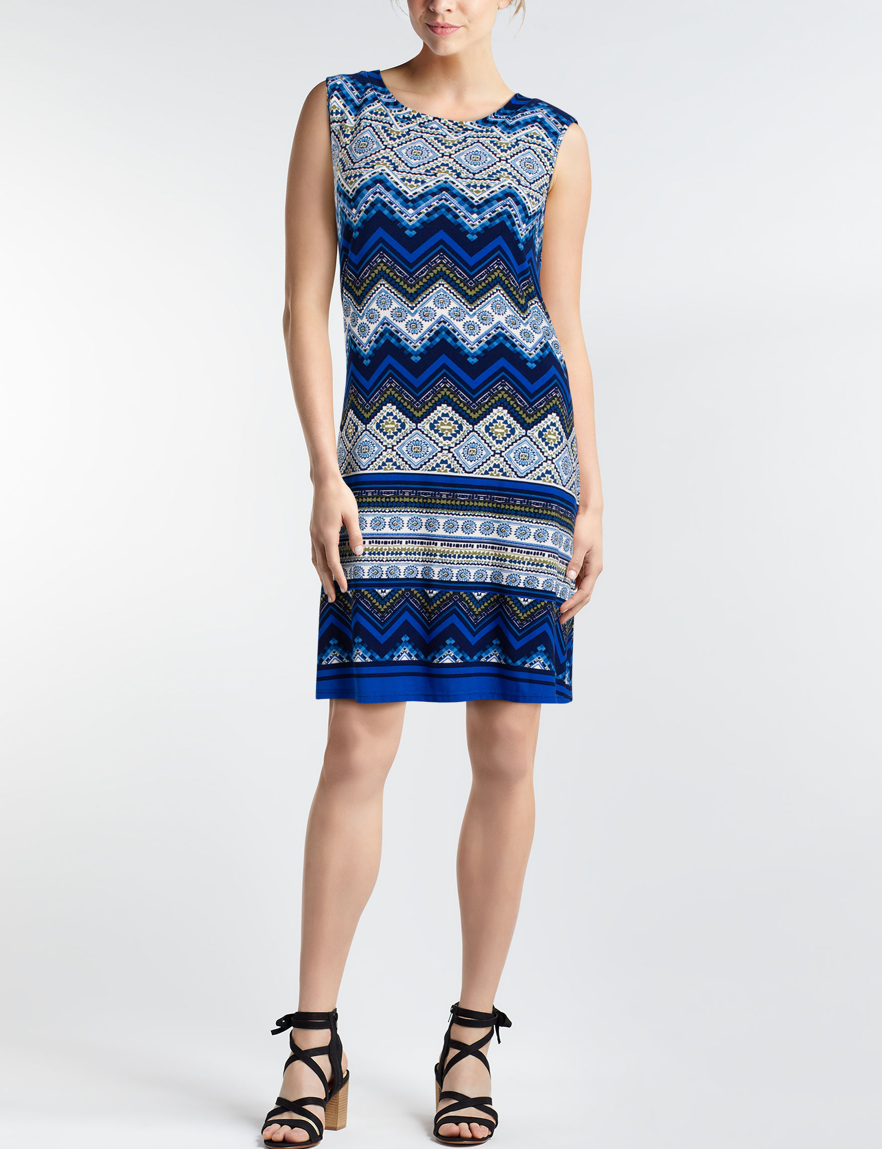 A. Byer Blue Multi Everyday & Casual Shift Dresses