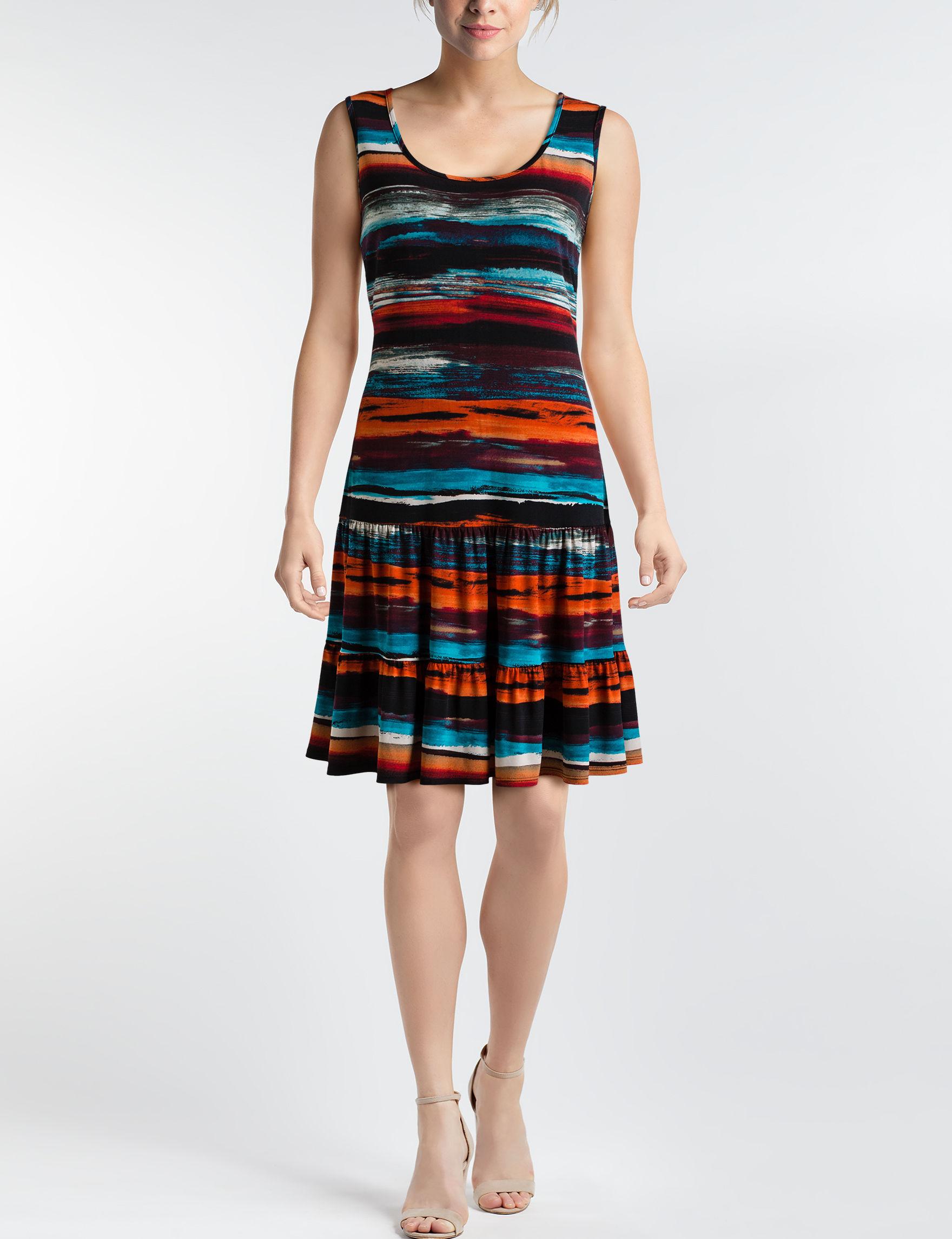 Ronni Nicole Black / Orange Everyday & Casual Shift Dresses