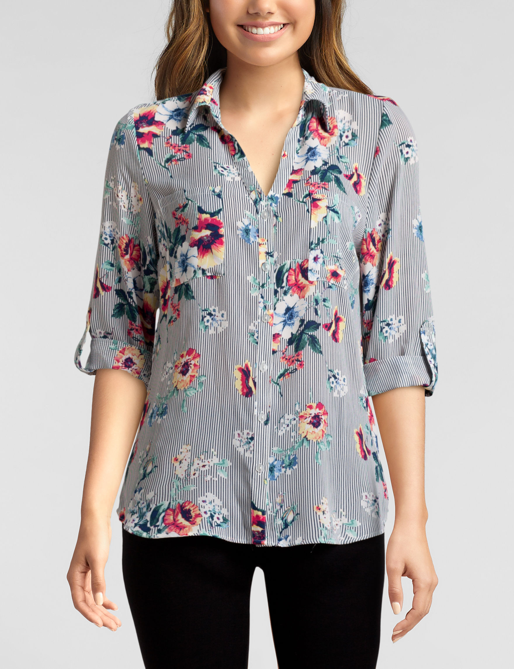 A. Byer White Floral Everyday & Casual Shirts & Blouses