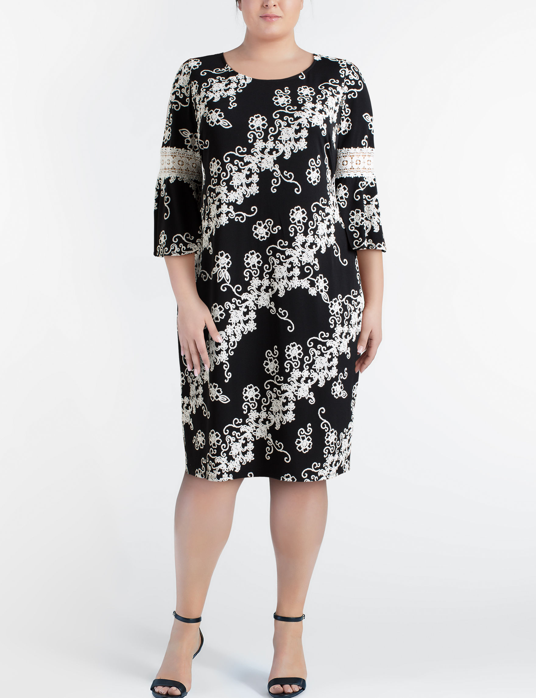 Glamour Black / Beige Everyday & Casual Shift Dresses
