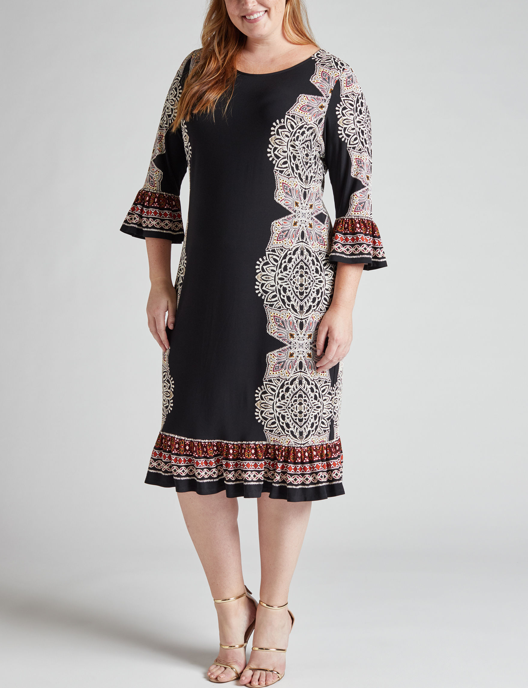 Glamour Black Multi Everyday & Casual Shift Dresses