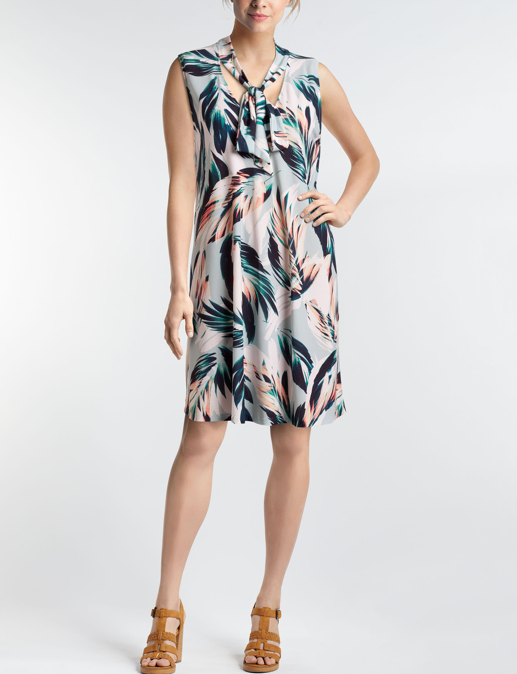 Beige by ECI Grey Multi Everyday & Casual Shift Dresses