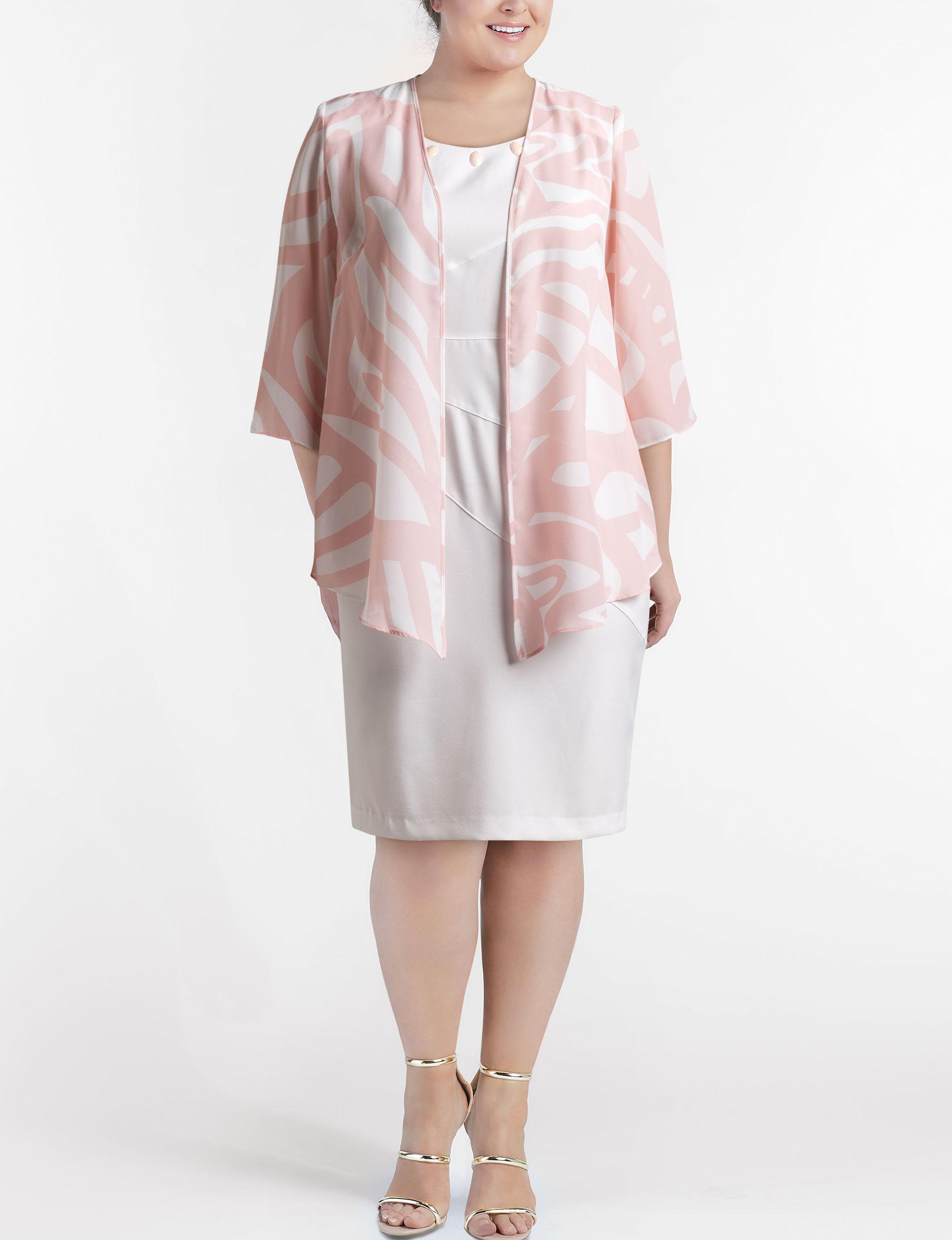 Maya Brooke White / Pink Everyday & Casual Jacket Dresses