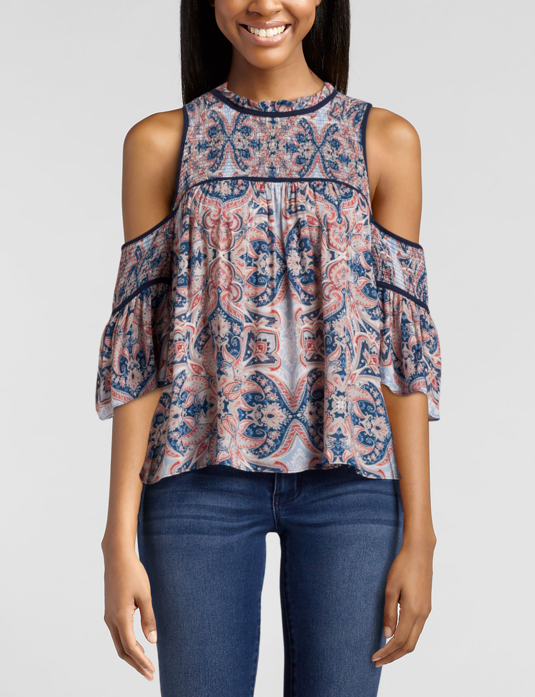 My Michelle Blue Multi Shirts & Blouses