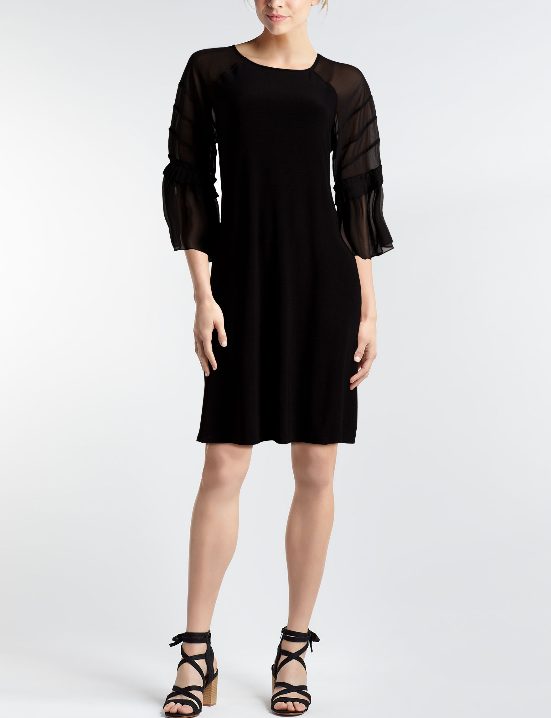 Nina Leonard Black Everyday & Casual A-line Dresses Fit & Flare Dresses