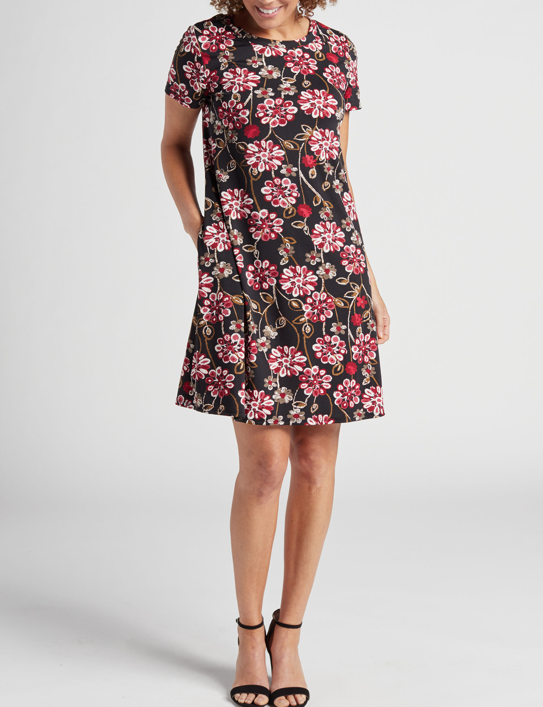 AGB Black Floral Everyday & Casual Shift Dresses