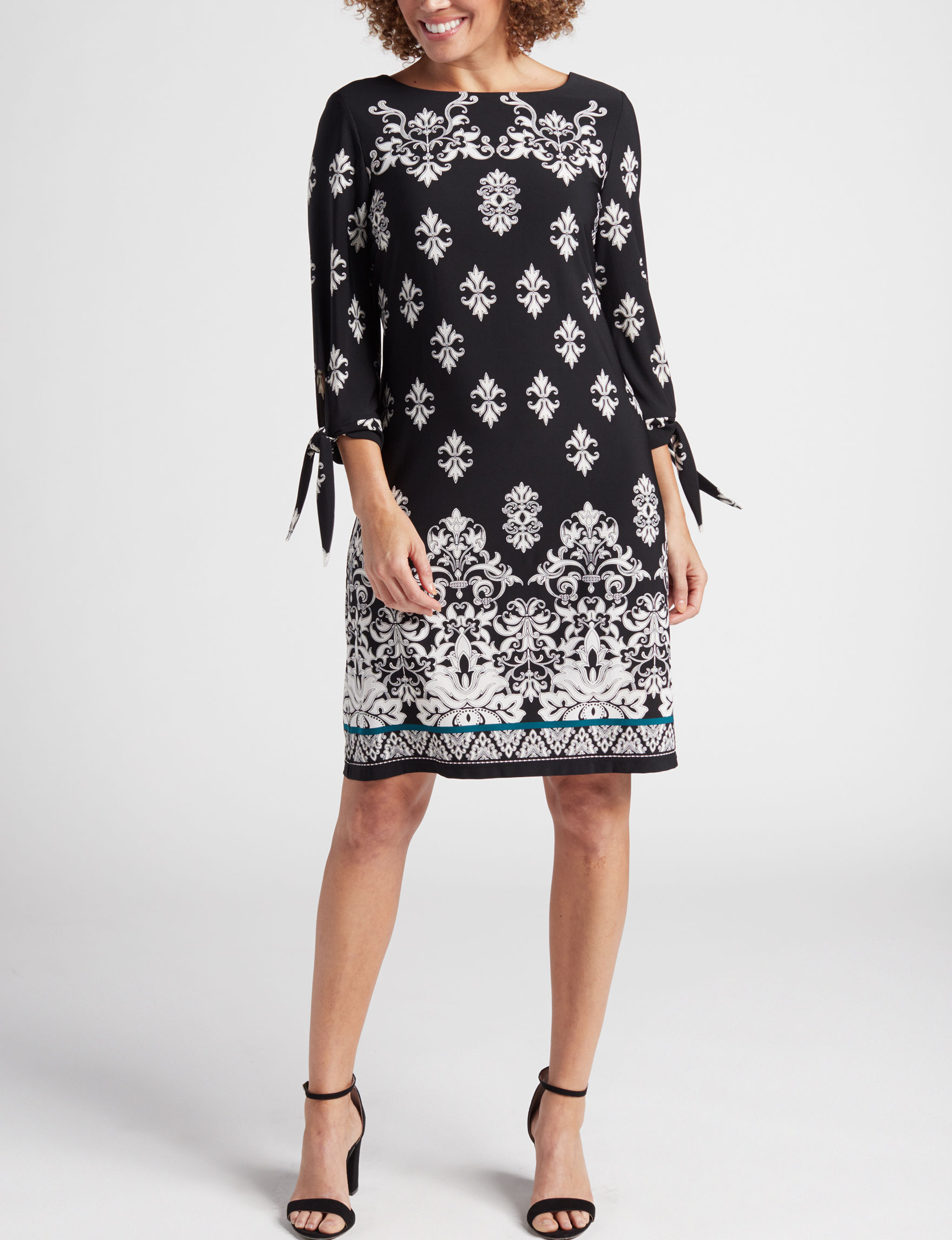 Sandra Darren Black / Ivory Everyday & Casual Sheath Dresses