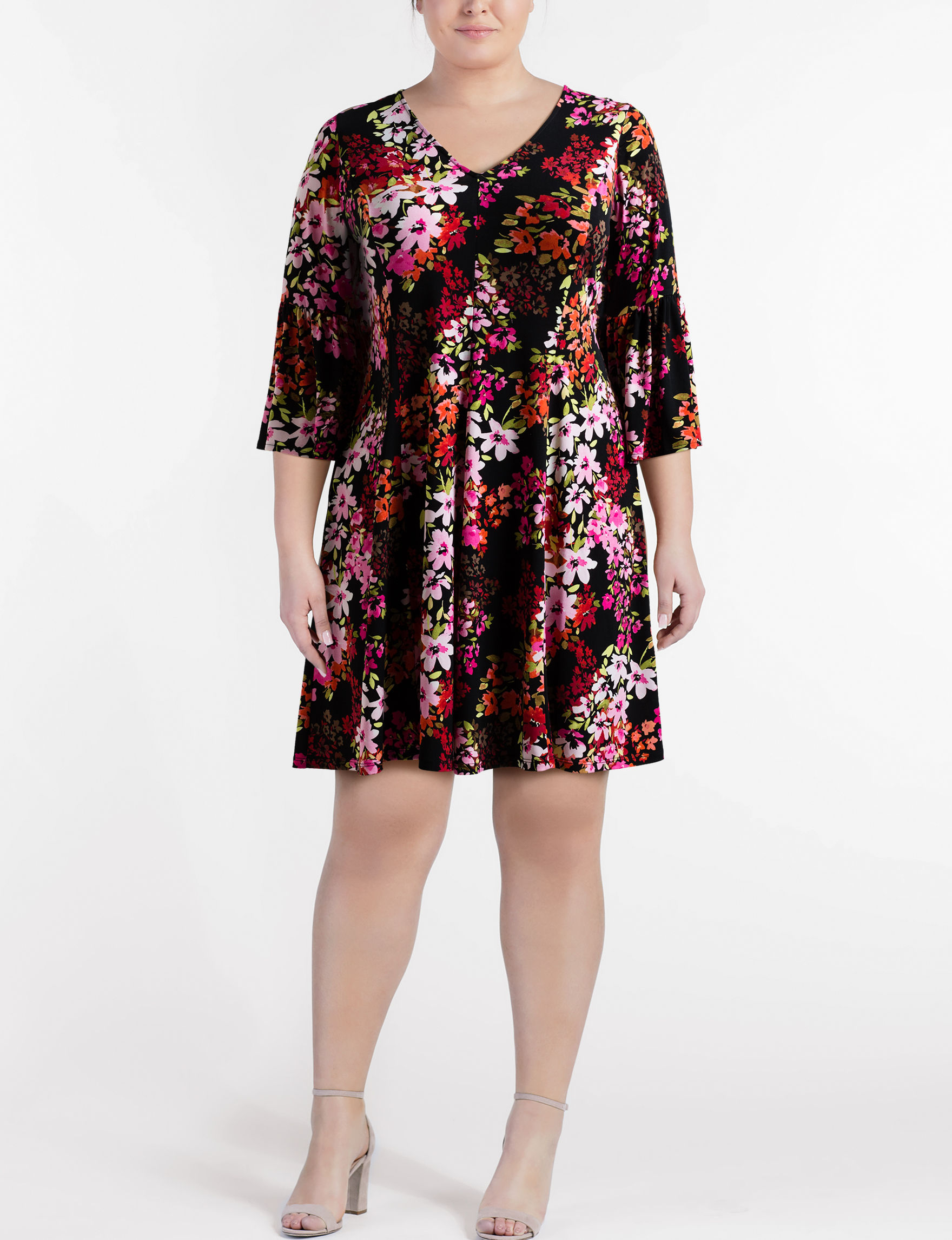 London Times Black Floral Everyday & Casual A-line Dresses Fit & Flare Dresses