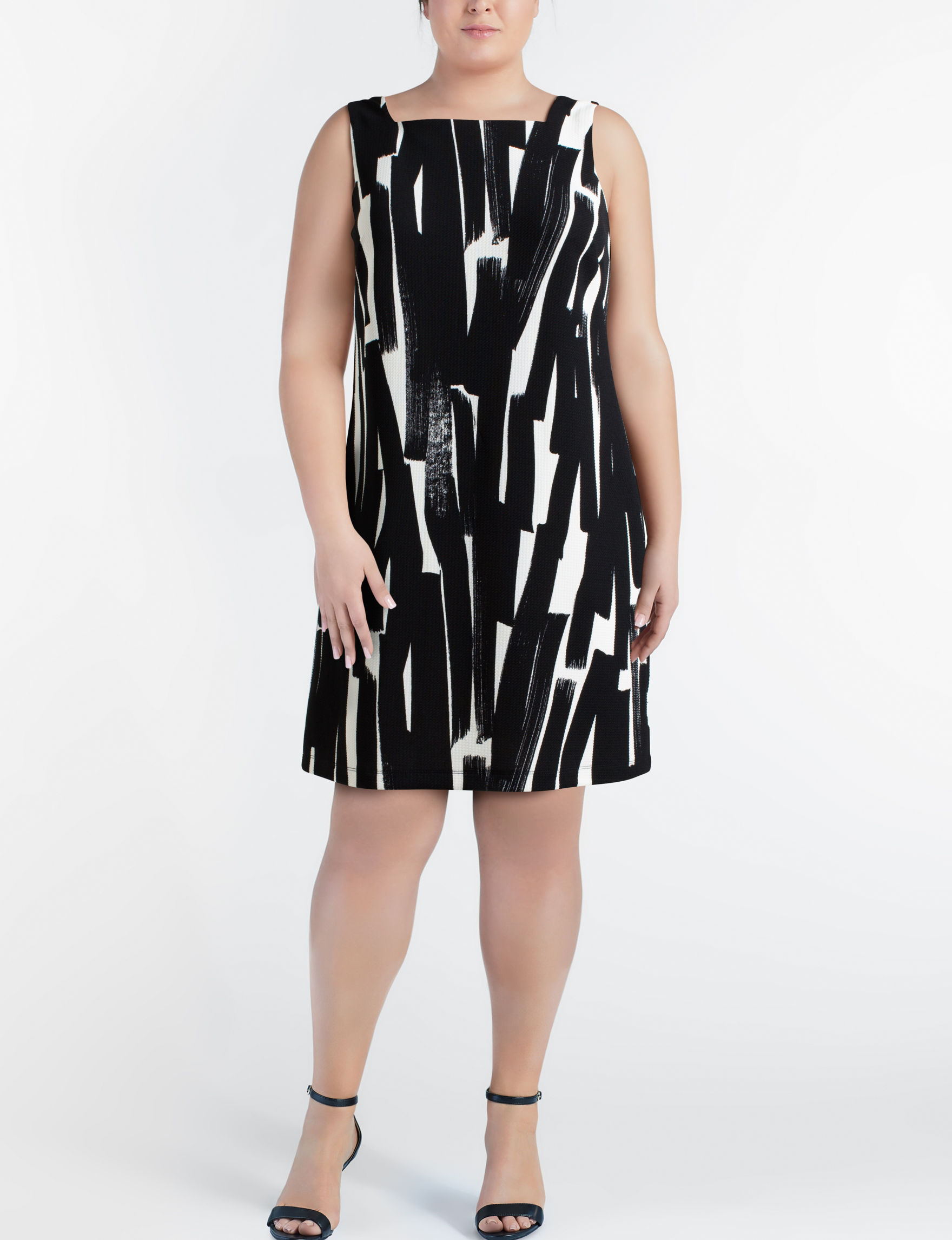 London Times Black / Beige Everyday & Casual Shift Dresses