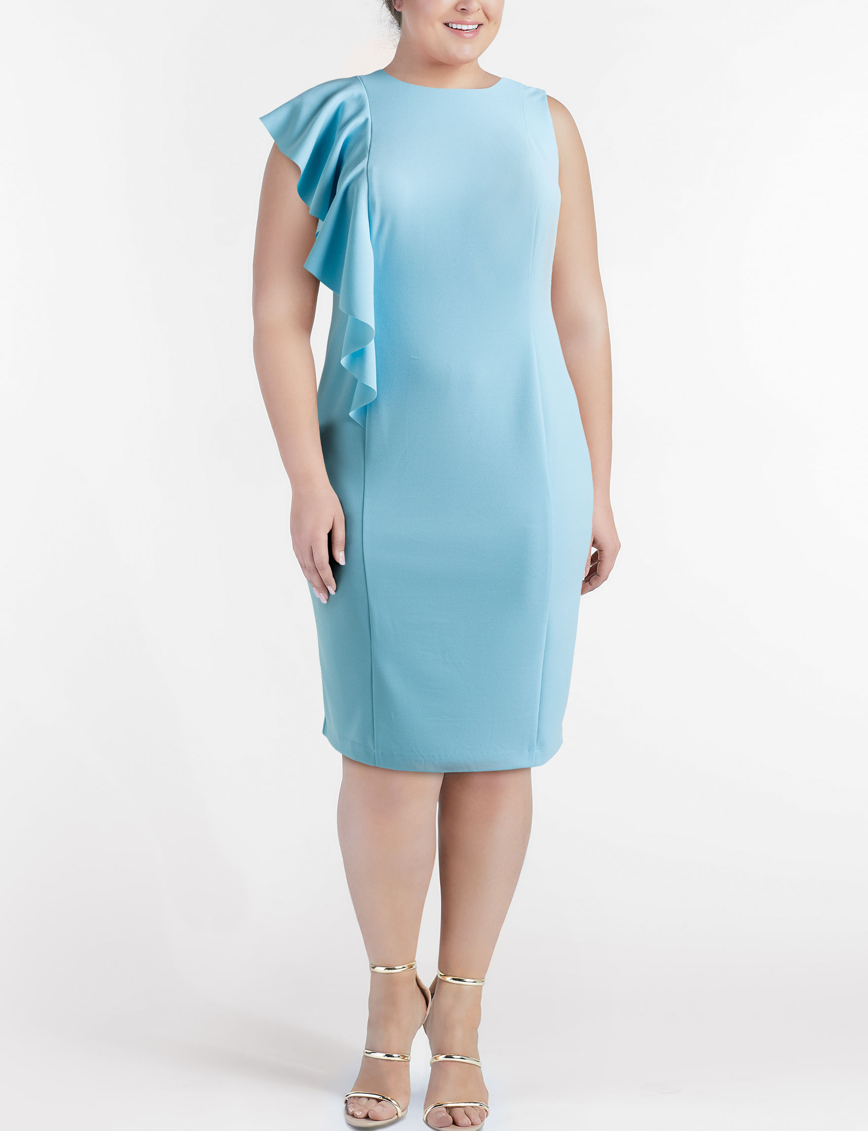 London Times Light Blue Everyday & Casual Sheath Dresses