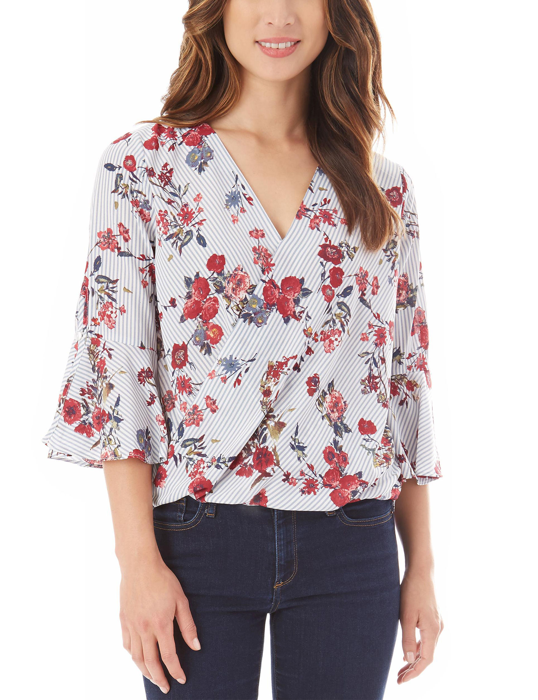A. Byer White Floral Shirts & Blouses