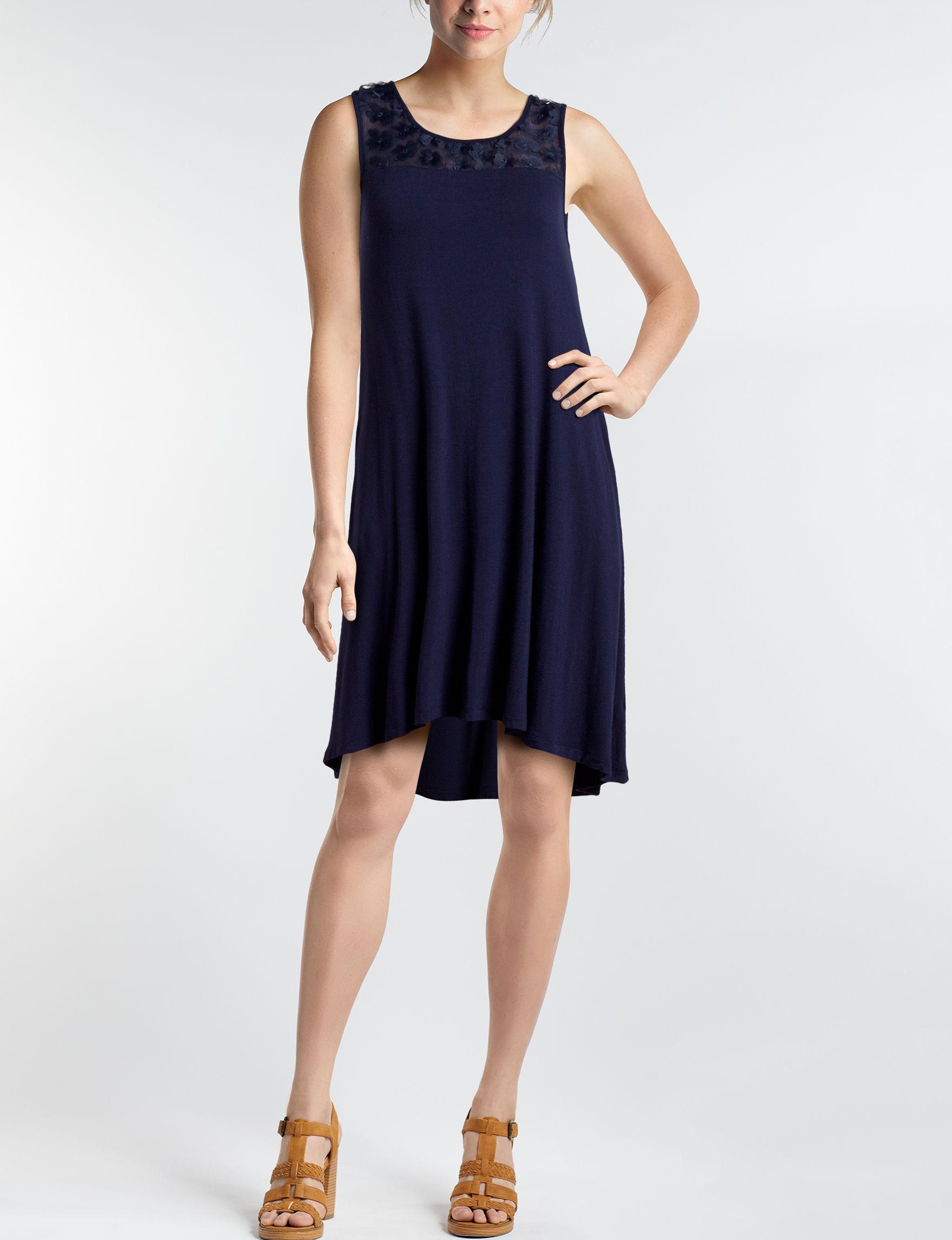 Nina Leonard Navy Everyday & Casual Fit & Flare Dresses