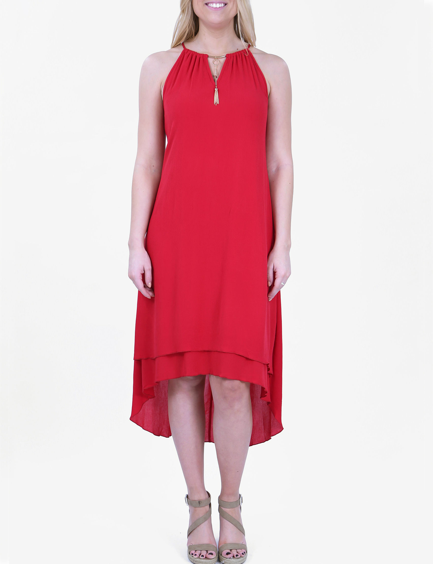 Nina Leonard Red Everyday & Casual Fit & Flare Dresses