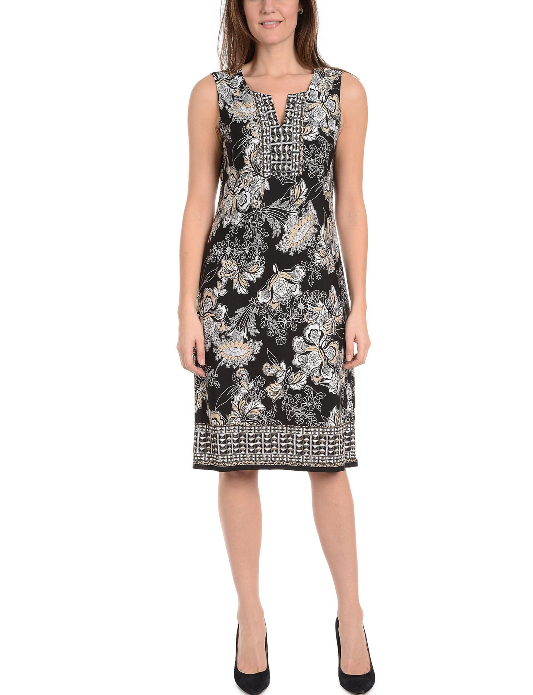 NY Collection Black Multi Everyday & Casual Shift Dresses