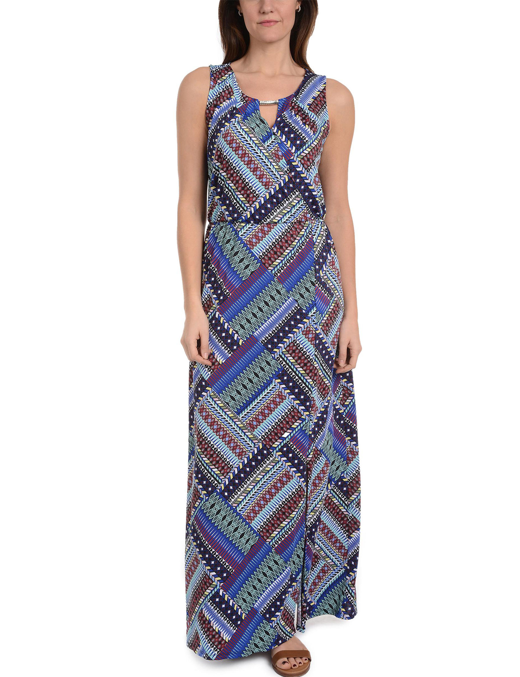 NY Collection Blue Multi Everyday & Casual