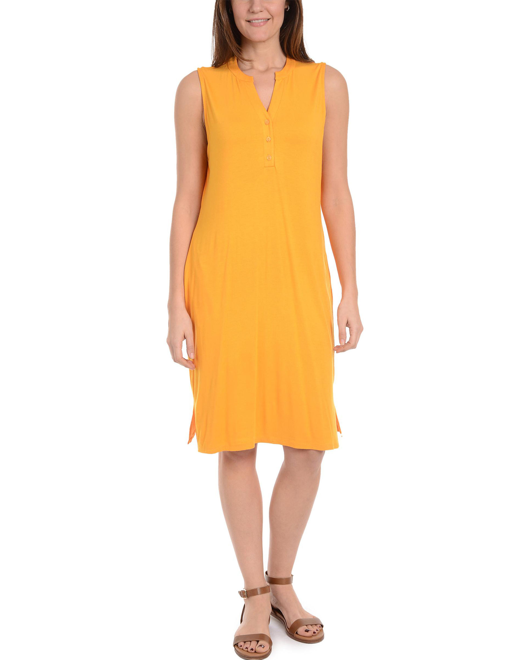 NY Collection Yellow Everyday & Casual Shirt Dresses