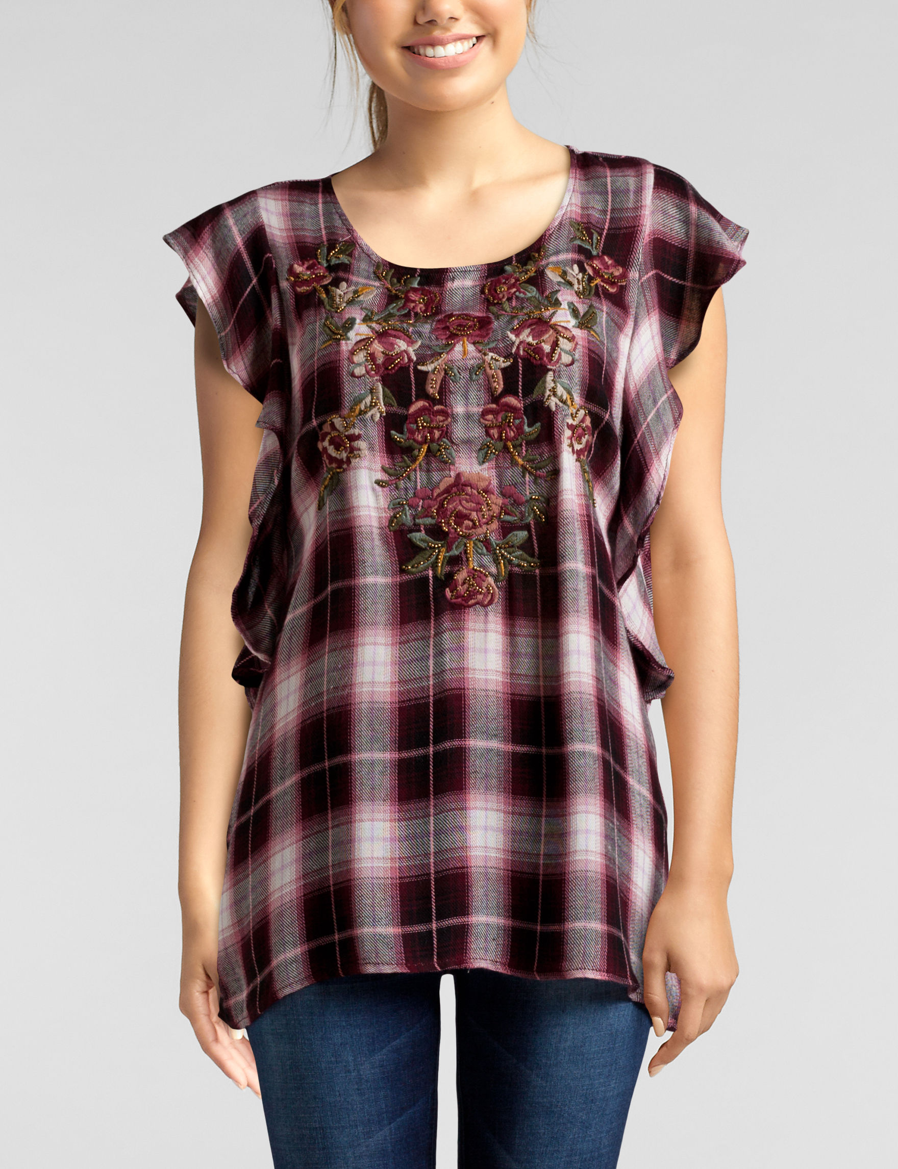 C + J Collections Burgundy Everyday & Casual Shirts & Blouses