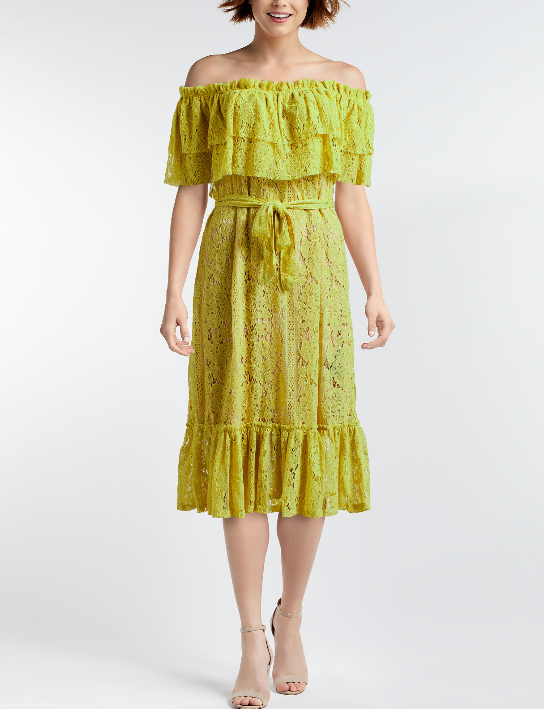 Sharagano Yellow Everyday & Casual A-line Dresses Fit & Flare Dresses