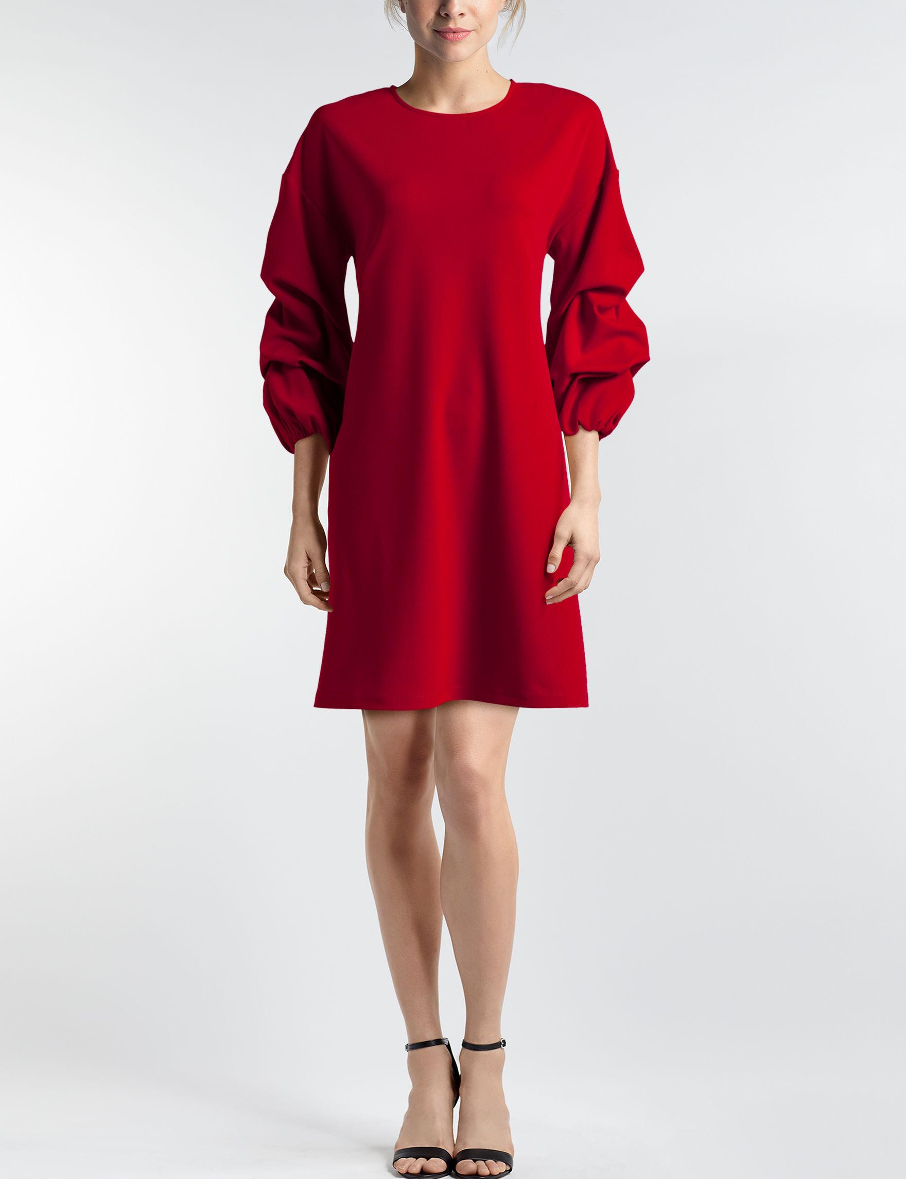 Nina Leonard Red Everyday & Casual Shift Dresses