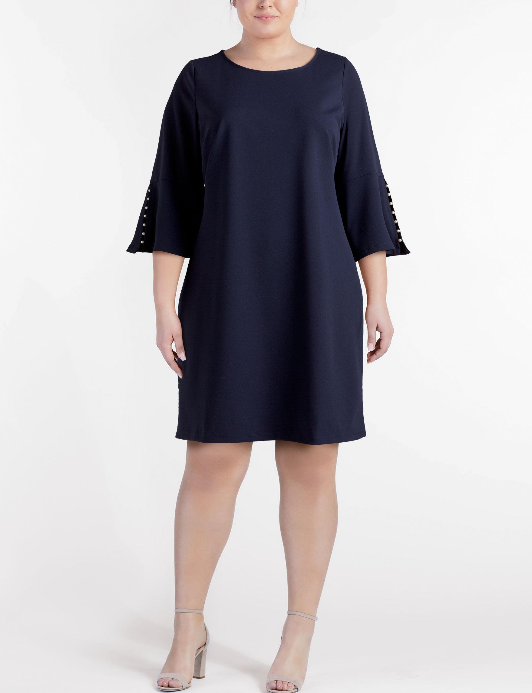Nina Leonard Navy Everyday & Casual A-line Dresses Fit & Flare Dresses
