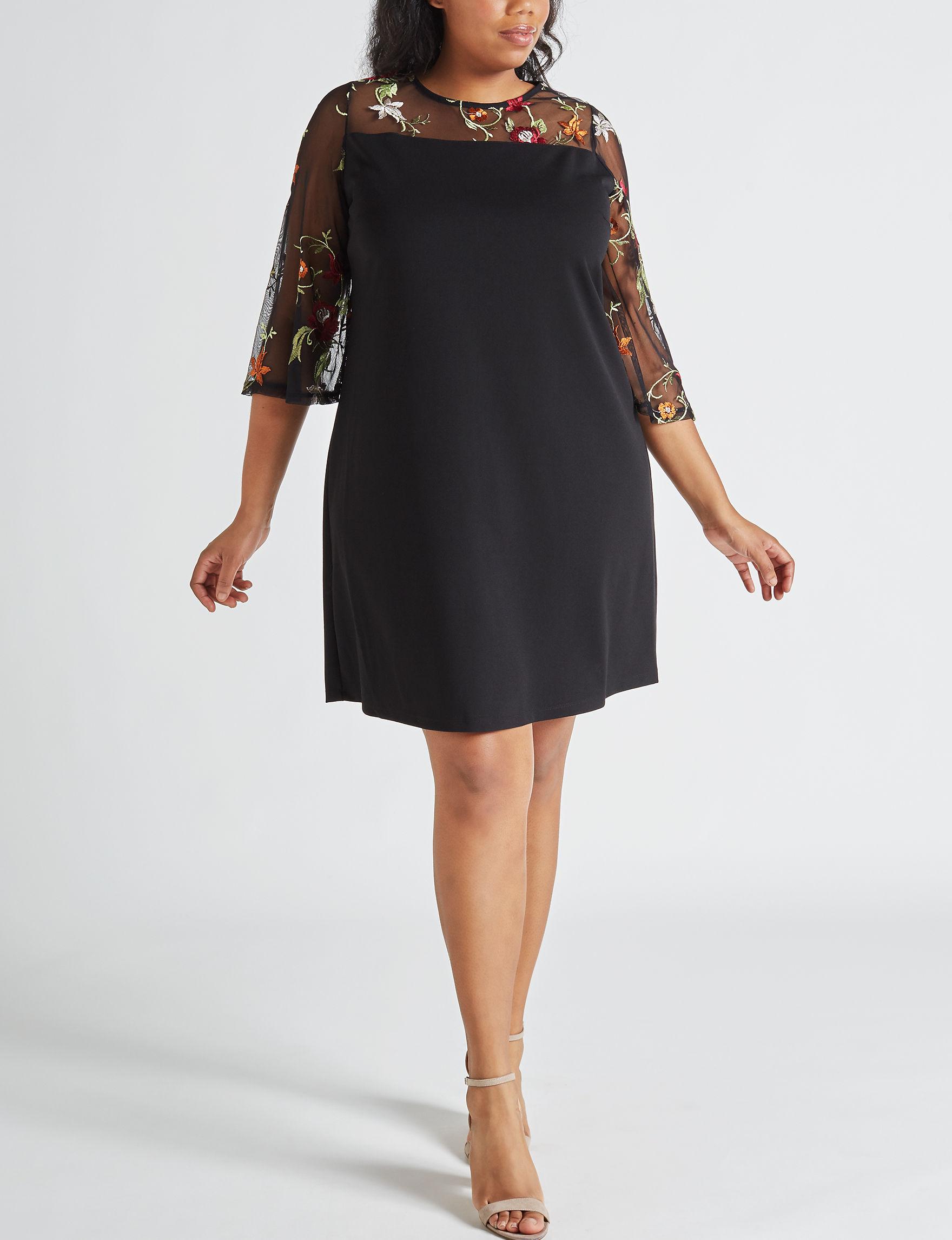 Nina Leonard Black / Multi Everyday & Casual Shift Dresses