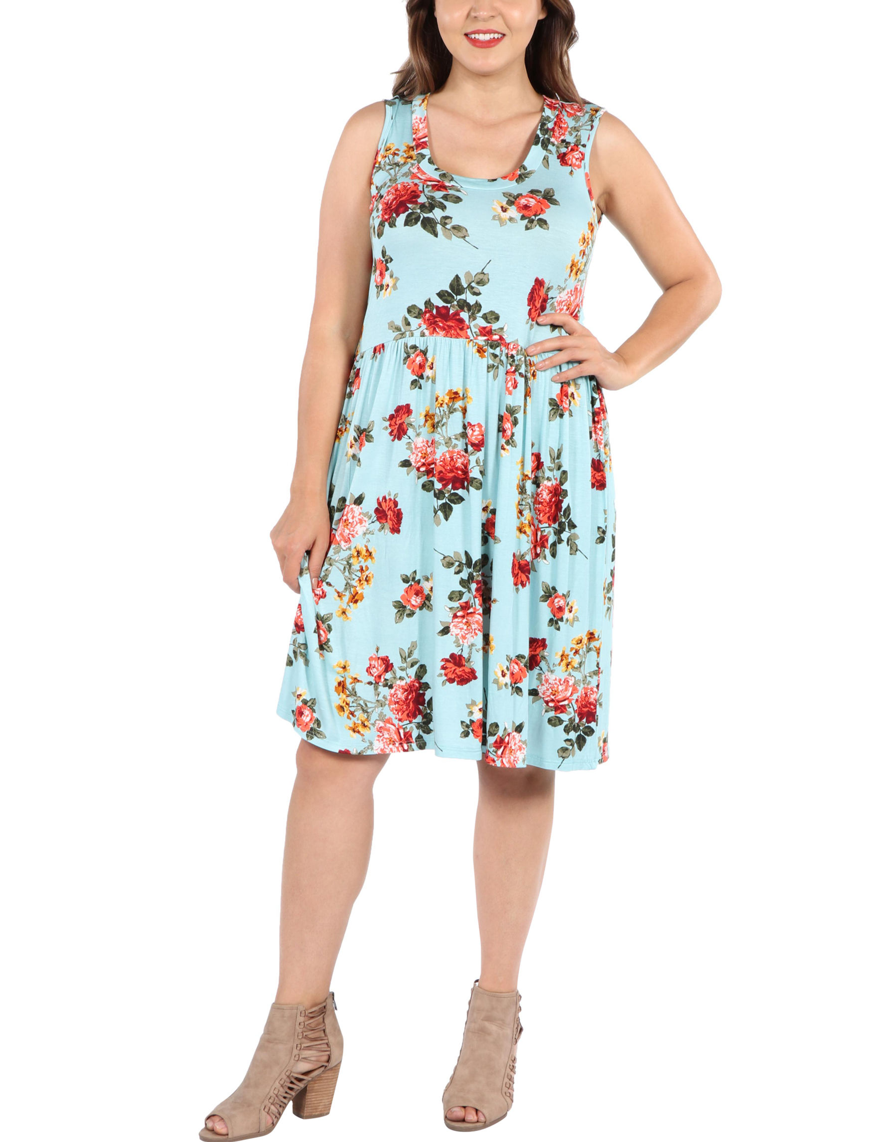 24Seven Comfort Apparel Blue Multi Everyday & Casual A-line Dresses