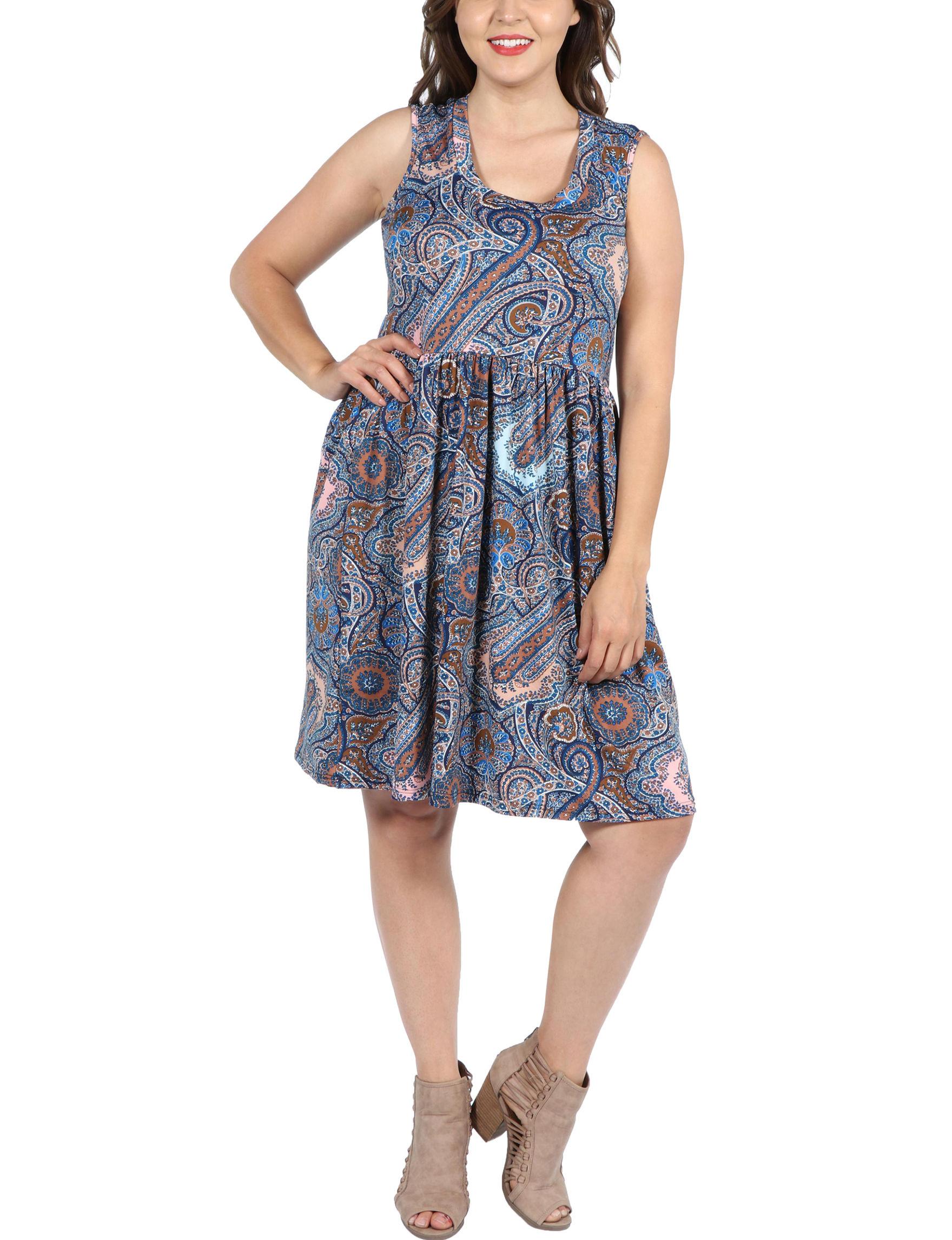 24Seven Comfort Apparel Blue Multi Everyday & Casual A-line Dresses