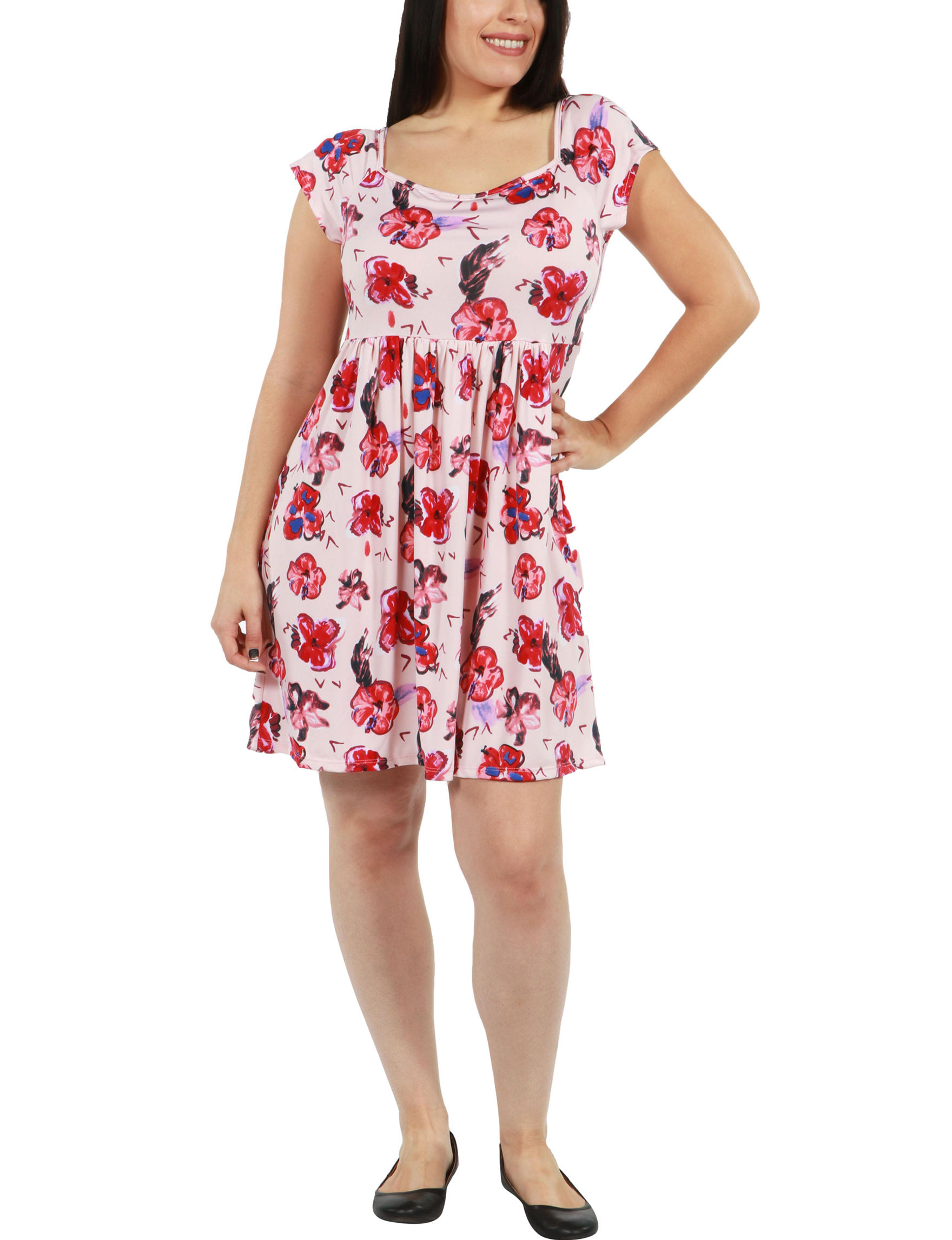 24Seven Comfort Apparel Pink Multi Everyday & Casual A-line Dresses
