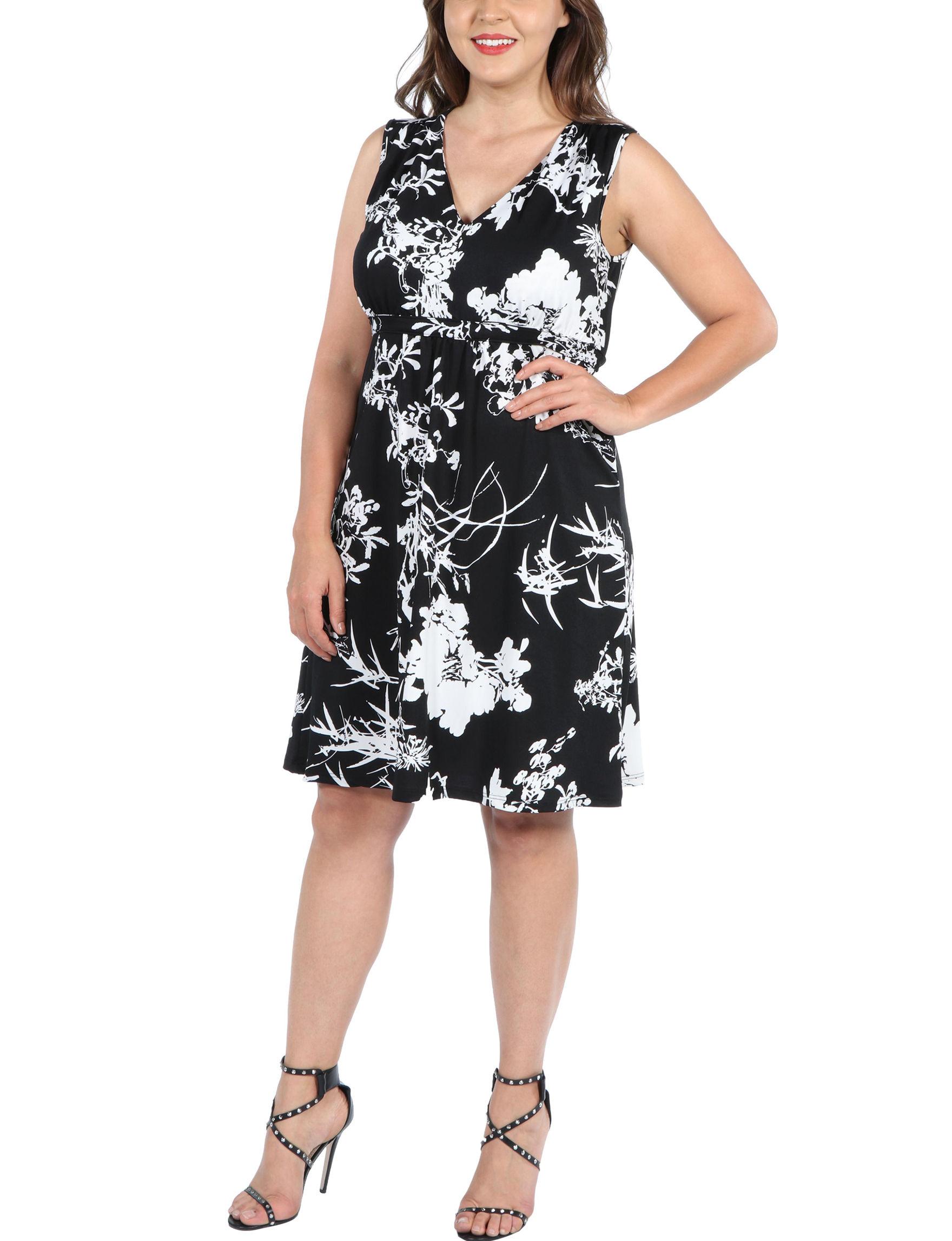 24Seven Comfort Apparel Black Multi Everyday & Casual A-line Dresses