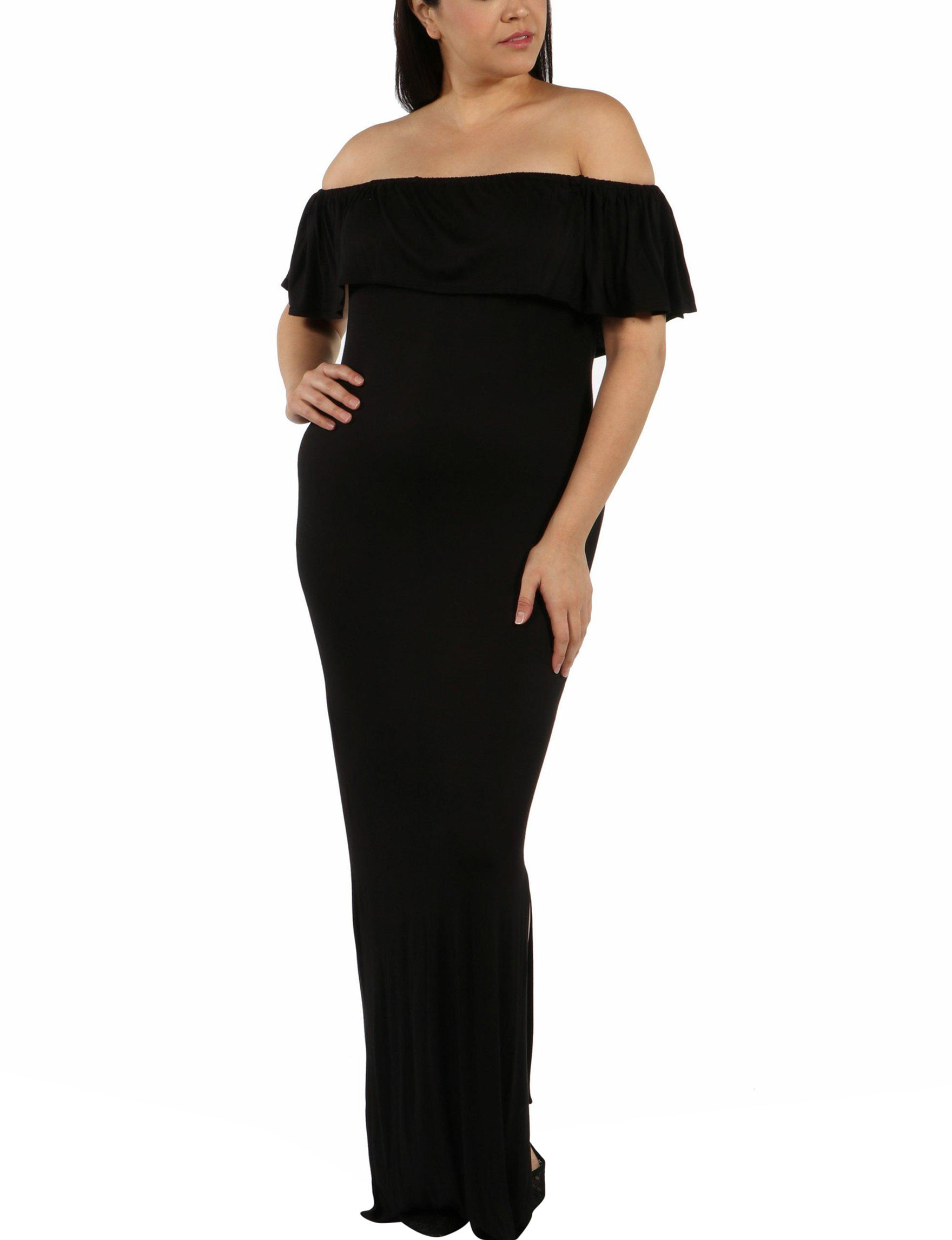 24Seven Comfort Apparel Black Cocktail & Party Everyday & Casual Sundresses