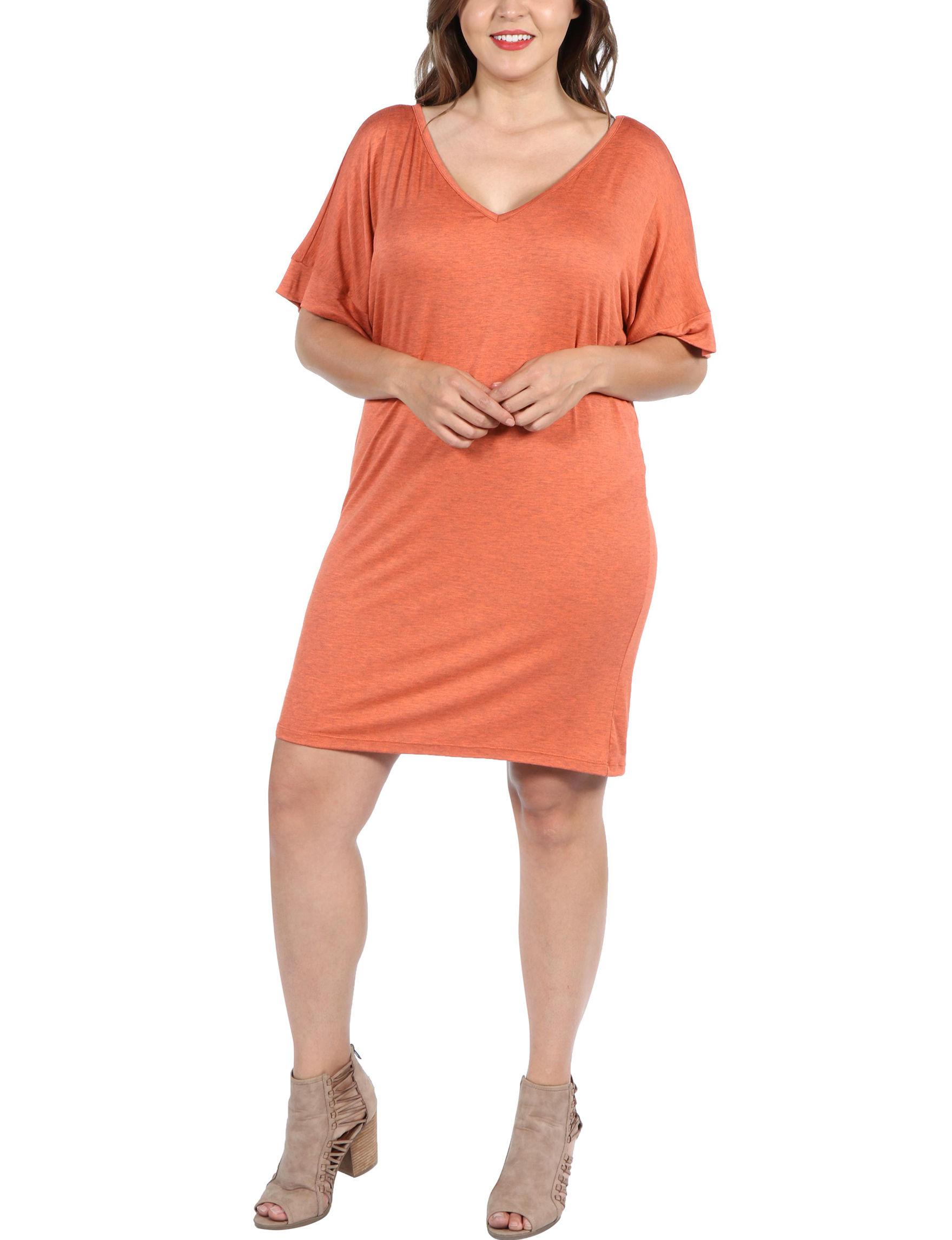 24Seven Comfort Apparel Orange Cocktail & Party Shift Dresses