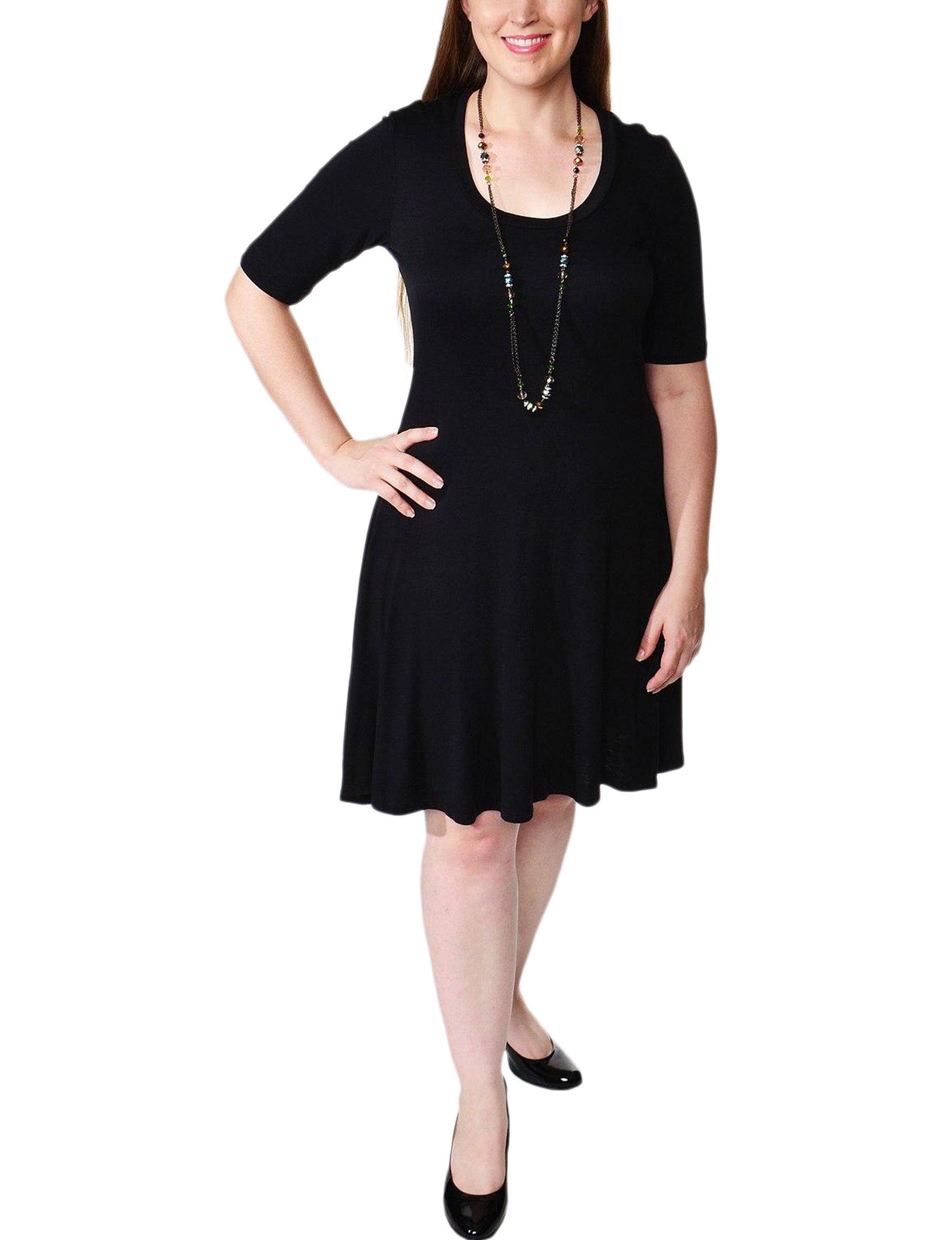 24Seven Comfort Apparel Black Cocktail & Party Everyday & Casual Shift Dresses