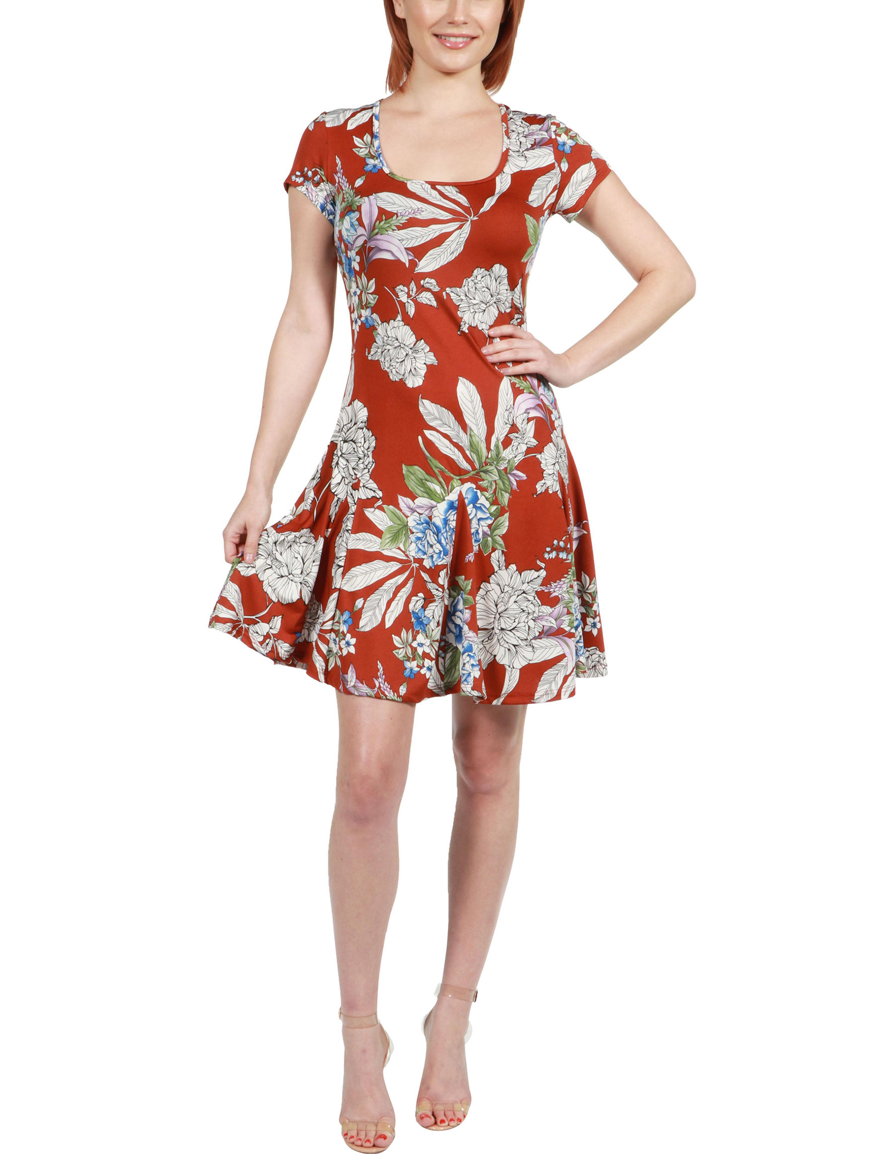 24Seven Comfort Apparel Red Multi Cocktail & Party Everyday & Casual A-line Dresses Fit & Flare Dresses