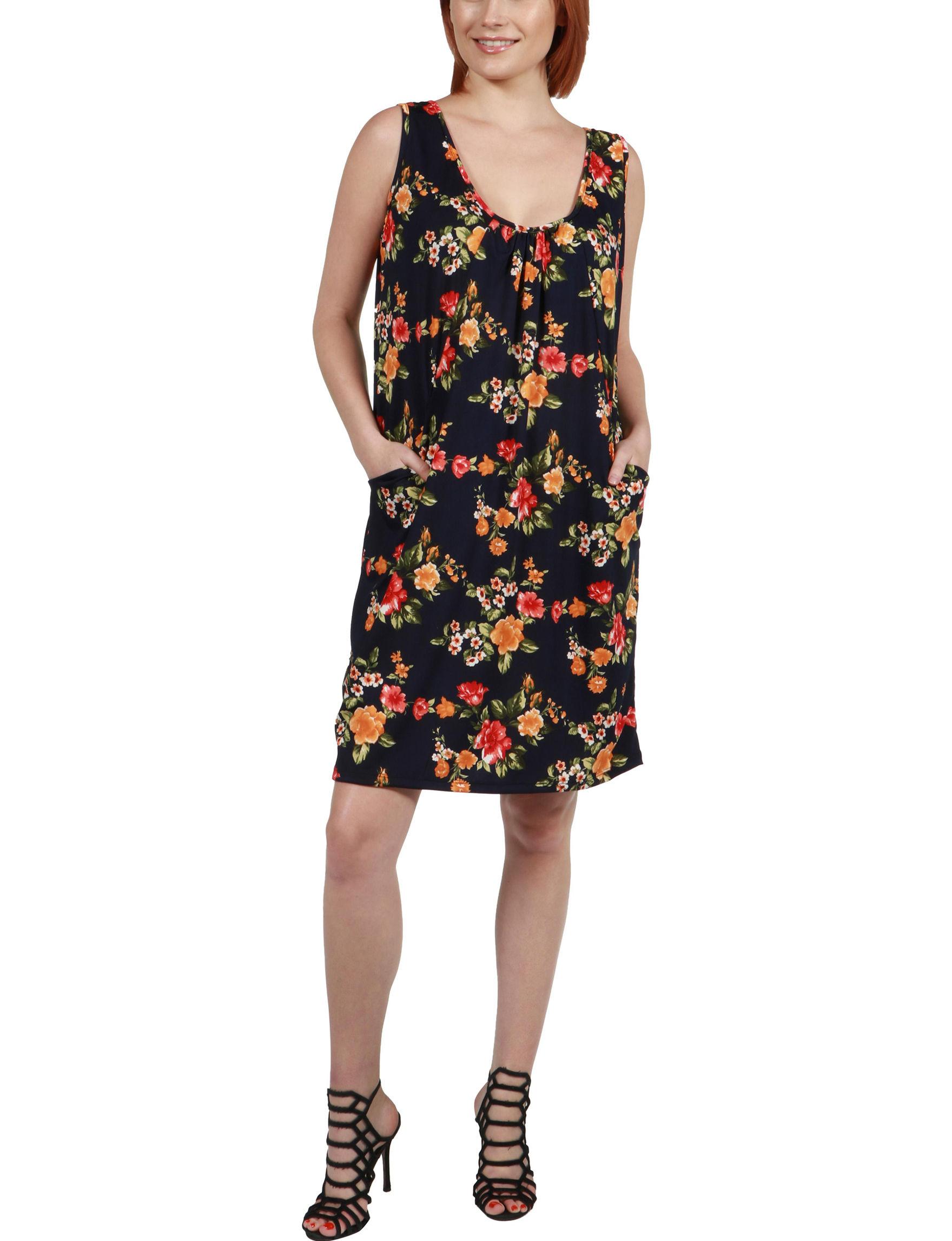 24Seven Comfort Apparel Black Multi Everyday & Casual Shift Dresses Sundresses