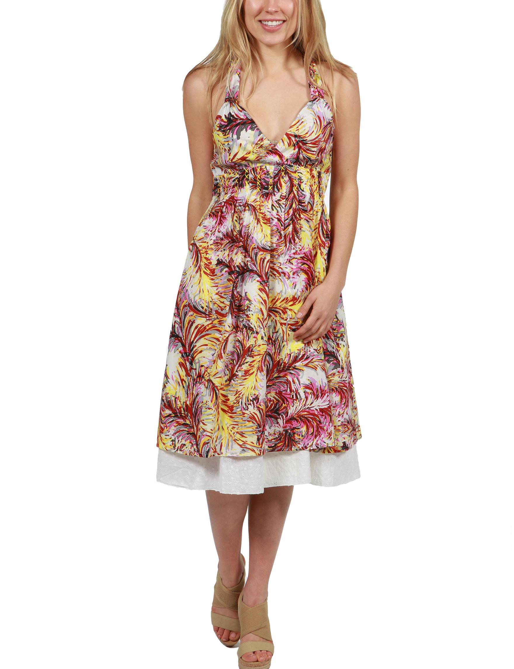 24Seven Comfort Apparel White Multi Everyday & Casual A-line Dresses Sundresses