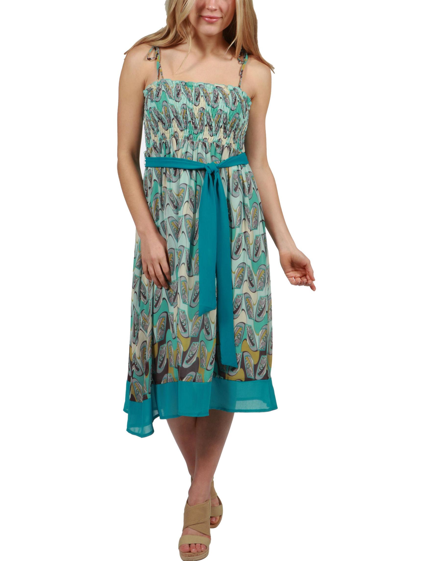 24Seven Comfort Apparel Blue Multi Everyday & Casual A-line Dresses Sundresses