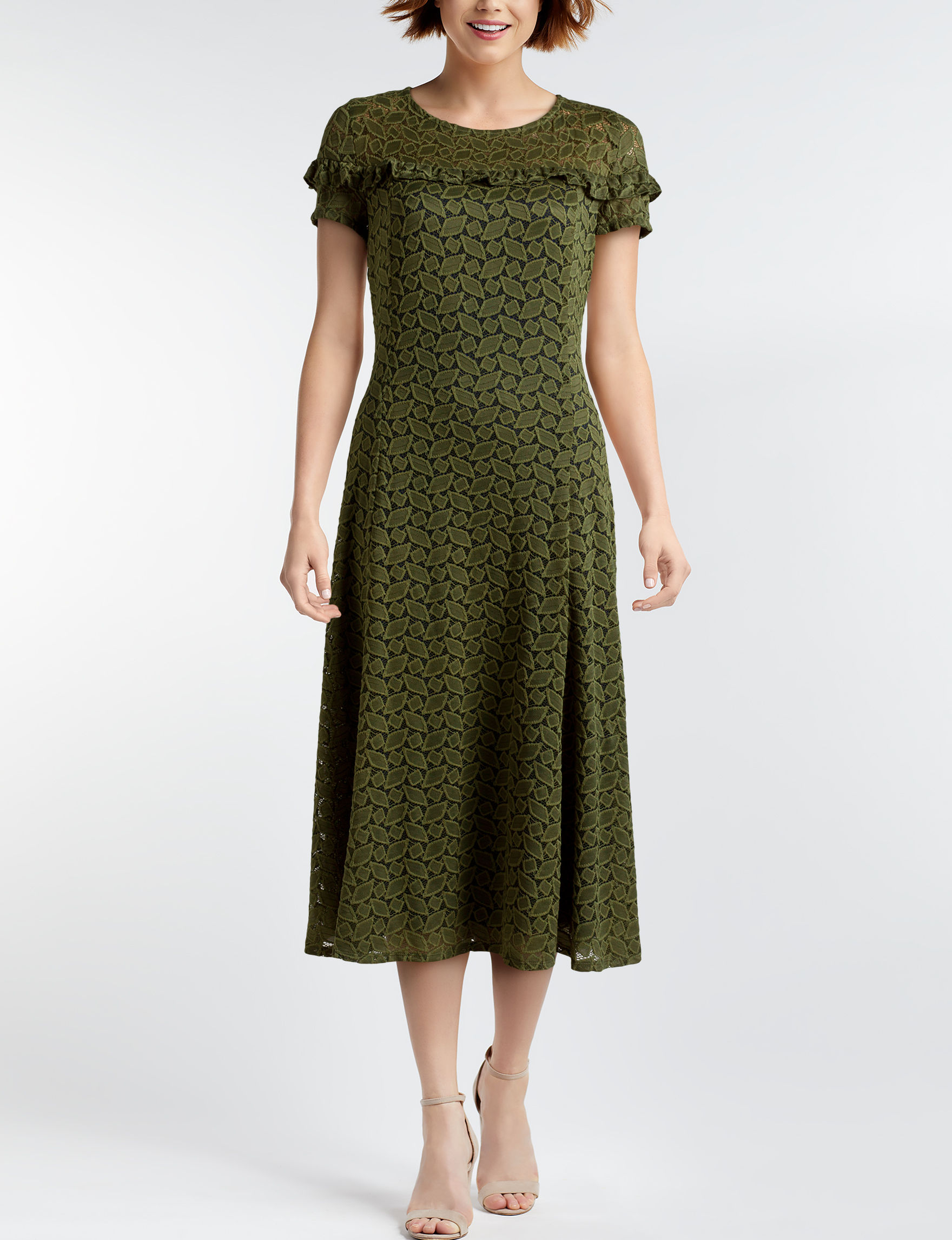 Perceptions Olive Everyday & Casual Fit & Flare Dresses