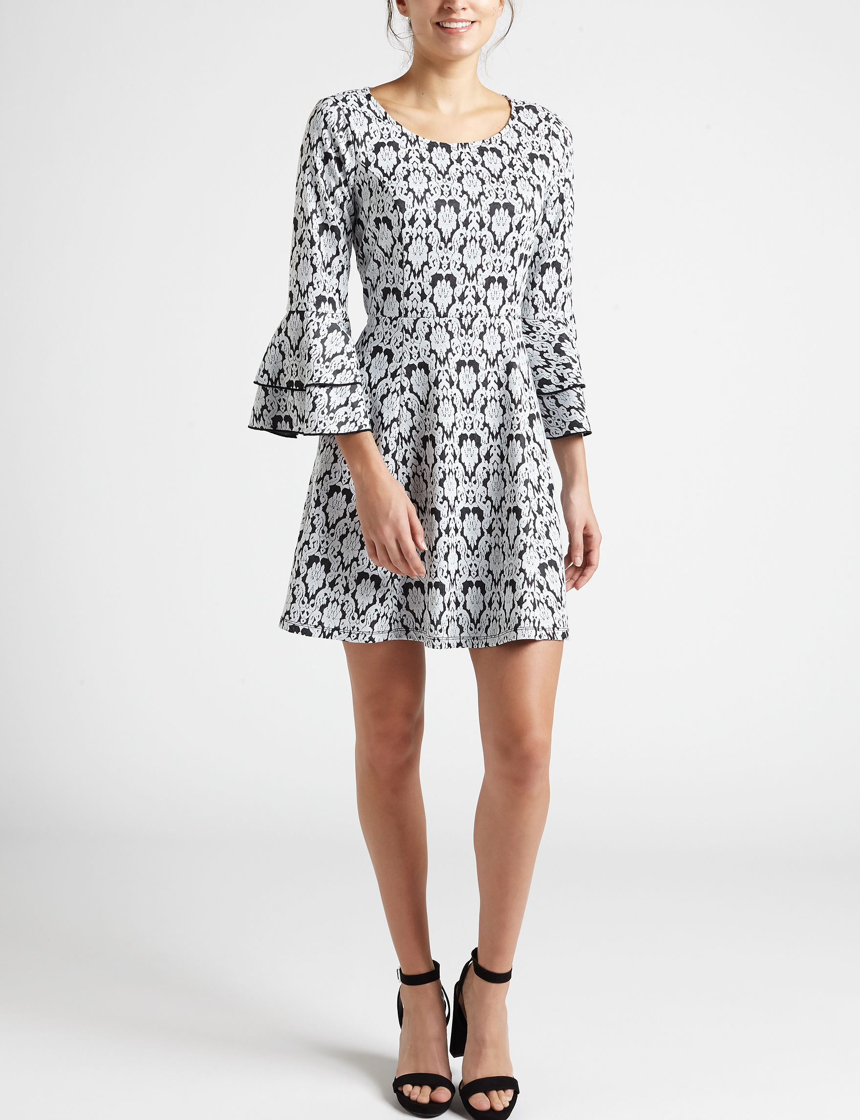 Sequin Hearts White / Black Everyday & Casual Fit & Flare Dresses