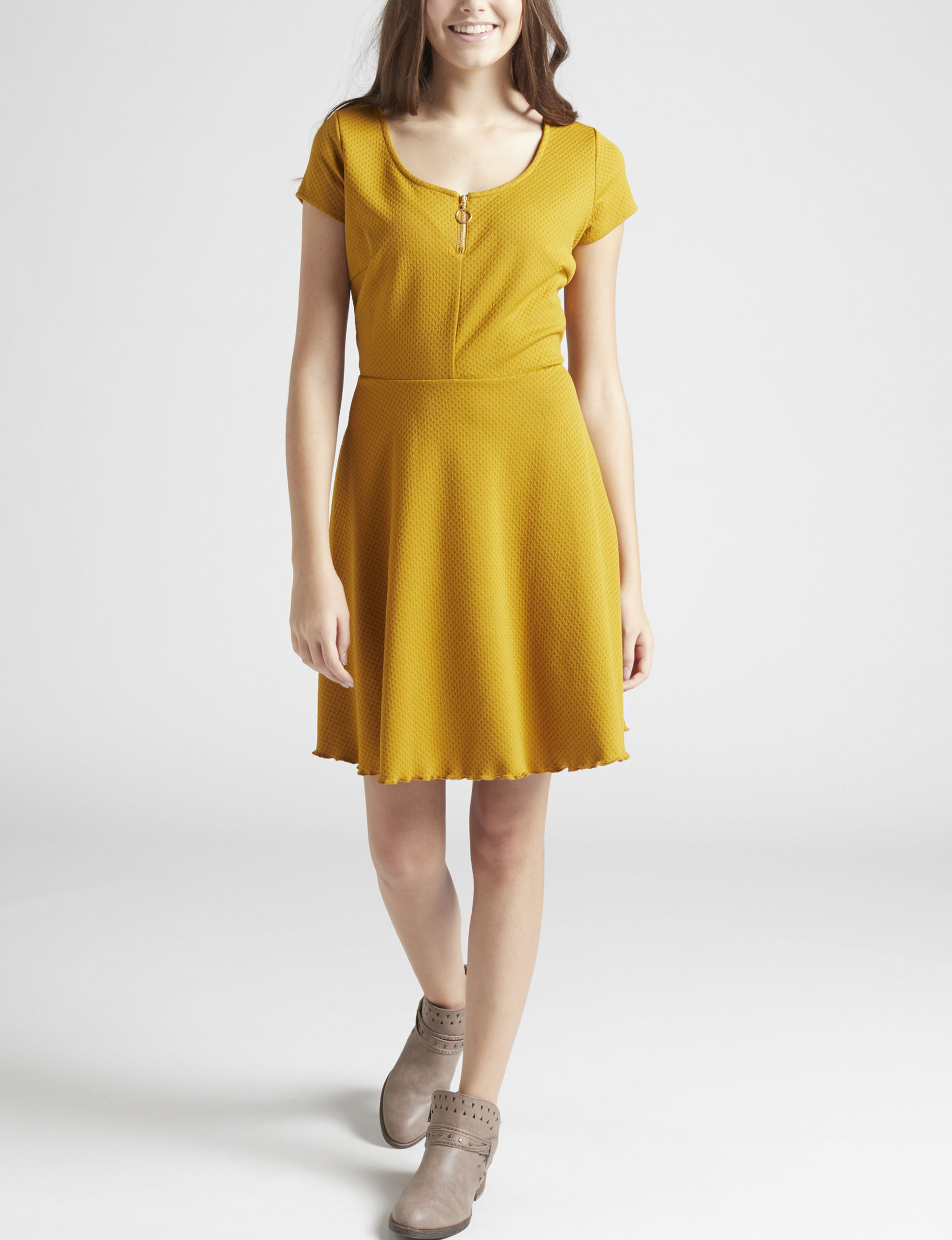 Sequin Hearts Mustard Everyday & Casual Fit & Flare Dresses