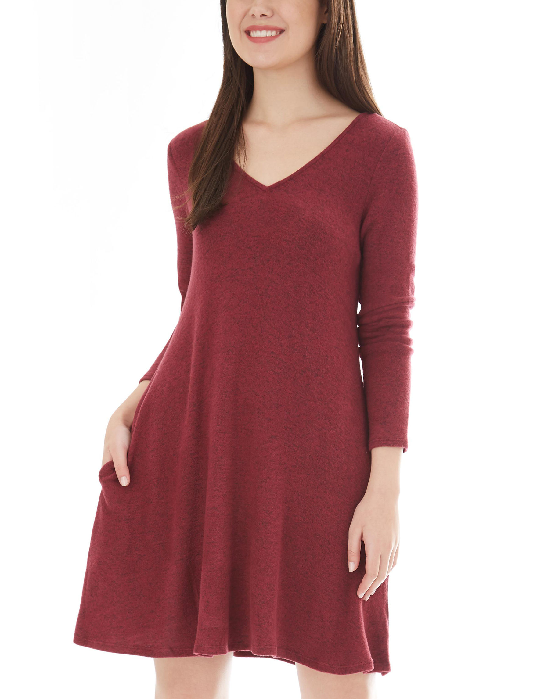 A. Byer Burgandy Everyday & Casual Sweater Dresses